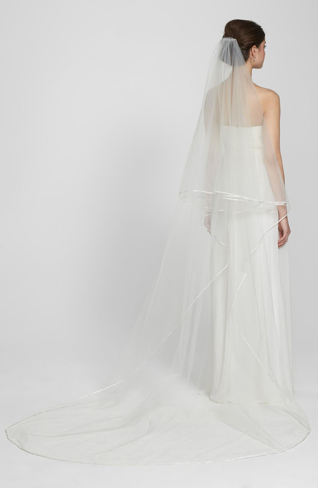 'Mable' Two-Tier Satin Trim Cathedral Veil,                             Alternate thumbnail 3, color,                             Ivory