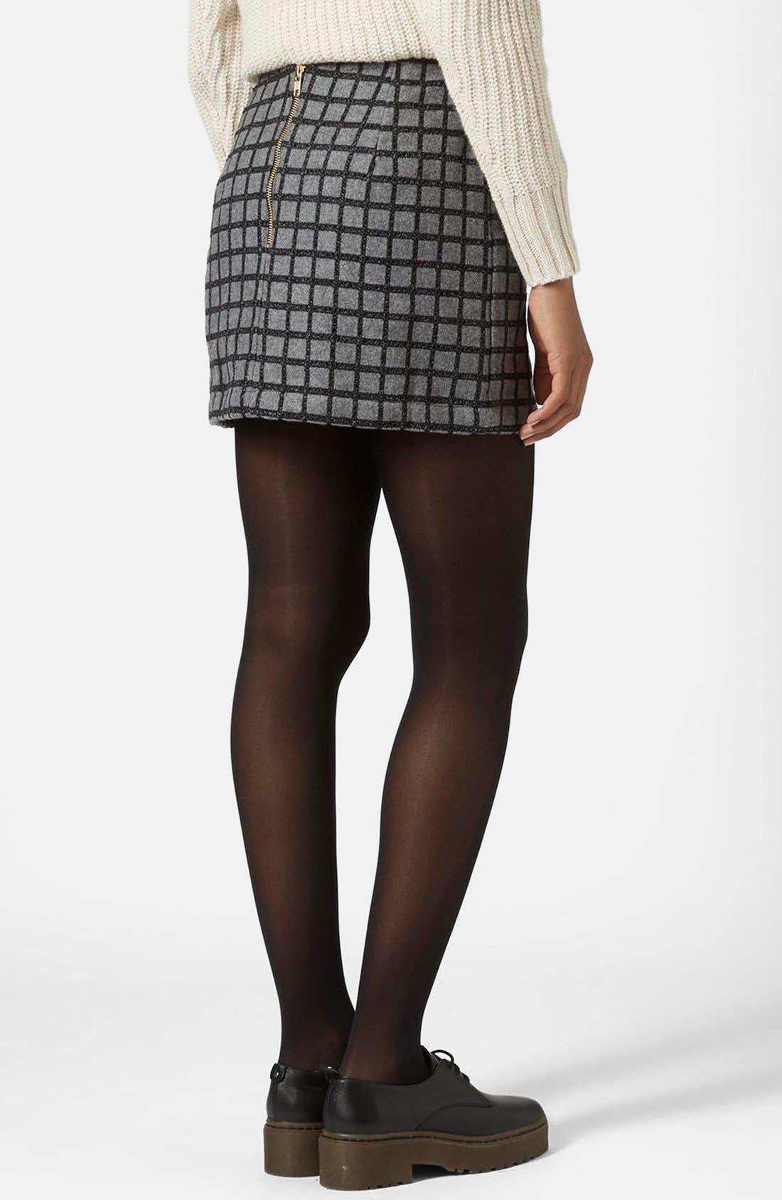 Alternate Image 2  - Topshop Grid Miniskirt