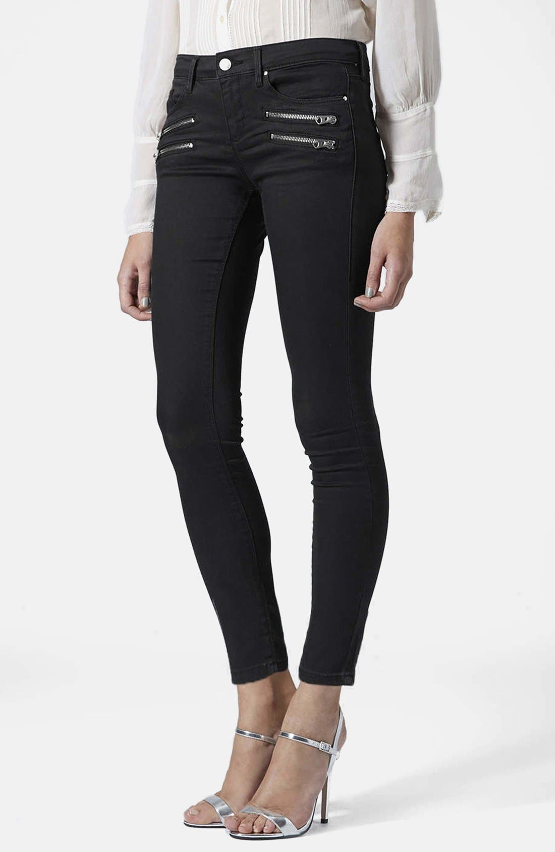 Main Image - Topshop Moto Biker Jeans (Black) (Regular & Short)