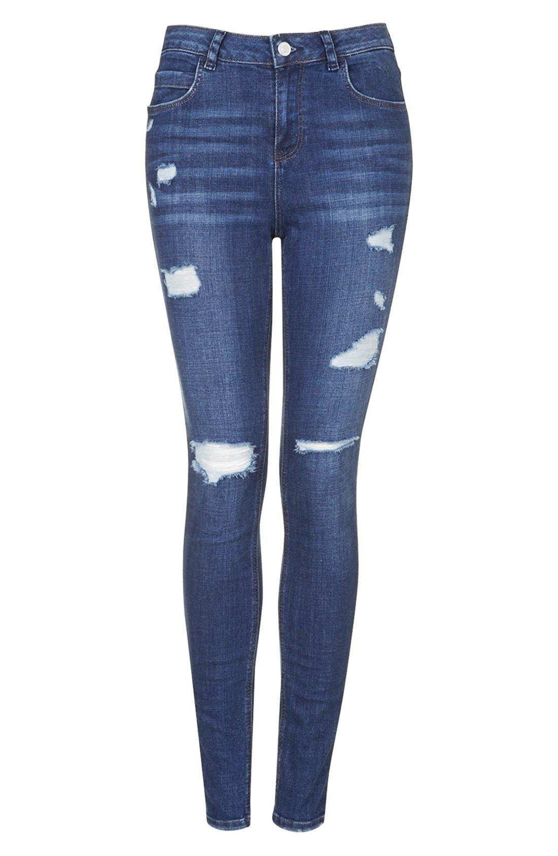 Moto Ripped Skinny Jeans,                             Alternate thumbnail 3, color,                             Dark Denim