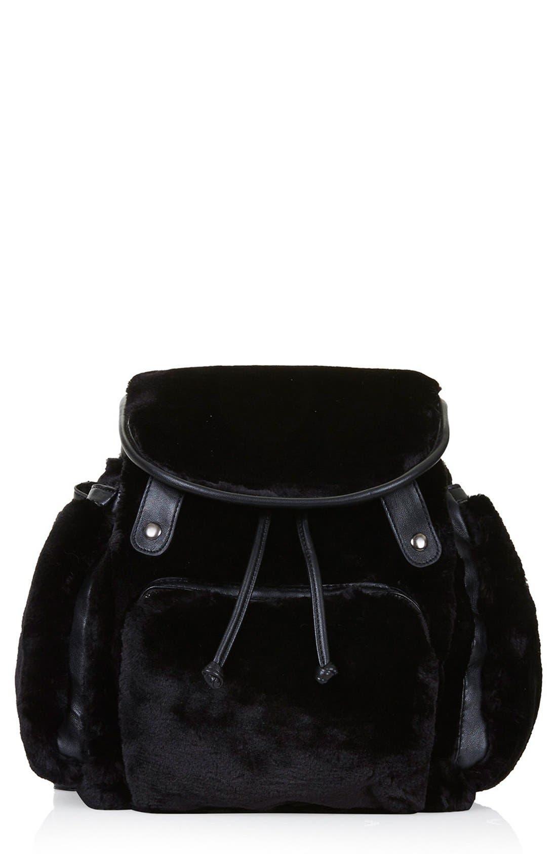 Main Image - Topshop Faux Fur Backpack