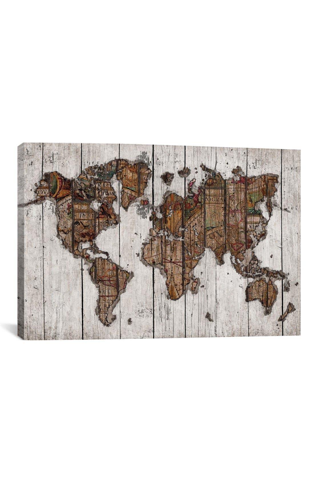 'Wood Map - Maximilian San' Giclée Print Canvas Art,                             Main thumbnail 1, color,                             White/ Brown
