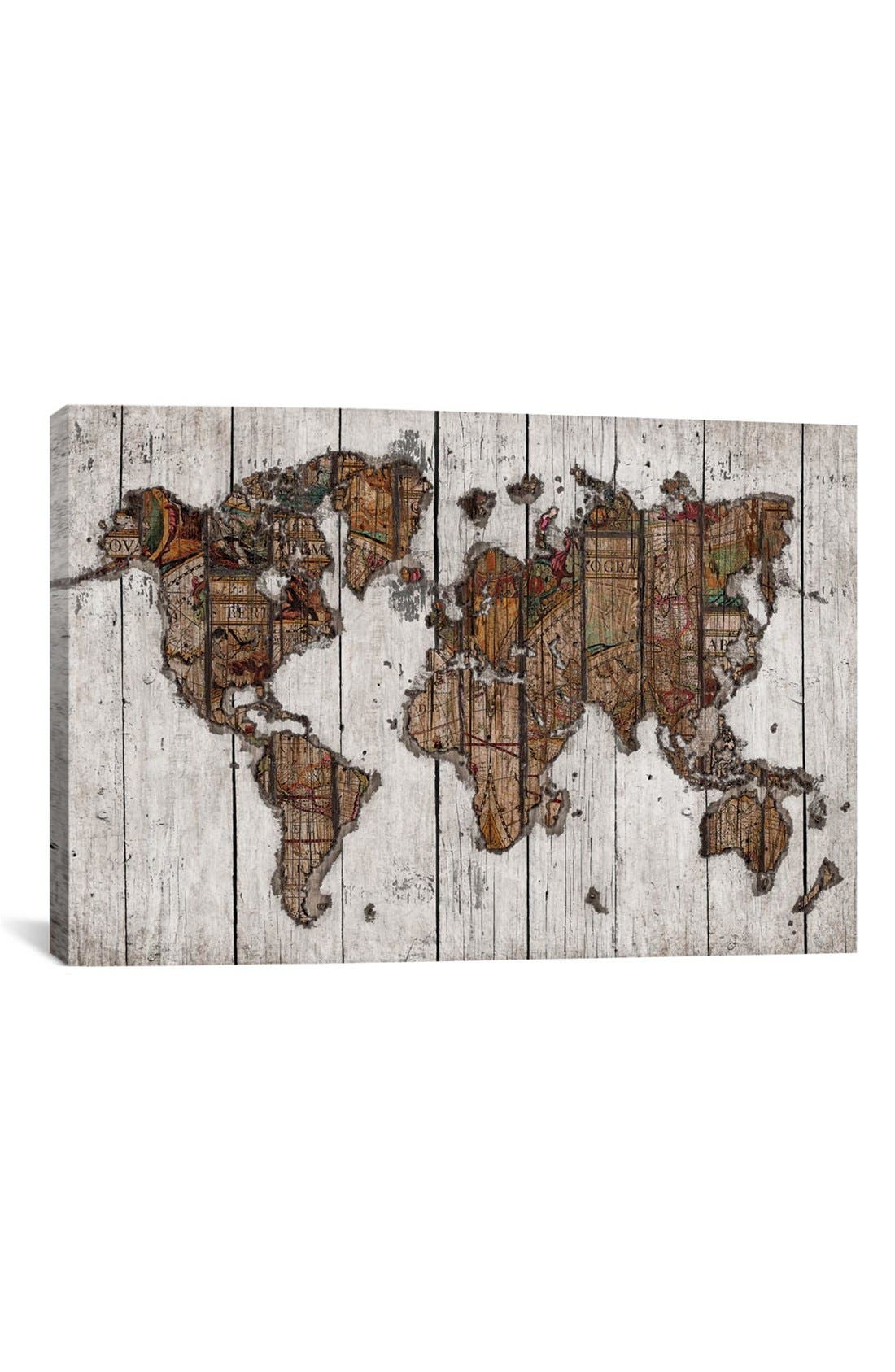 iCanvas 'Wood Map - Maximilian San' Giclée Print Canvas Art