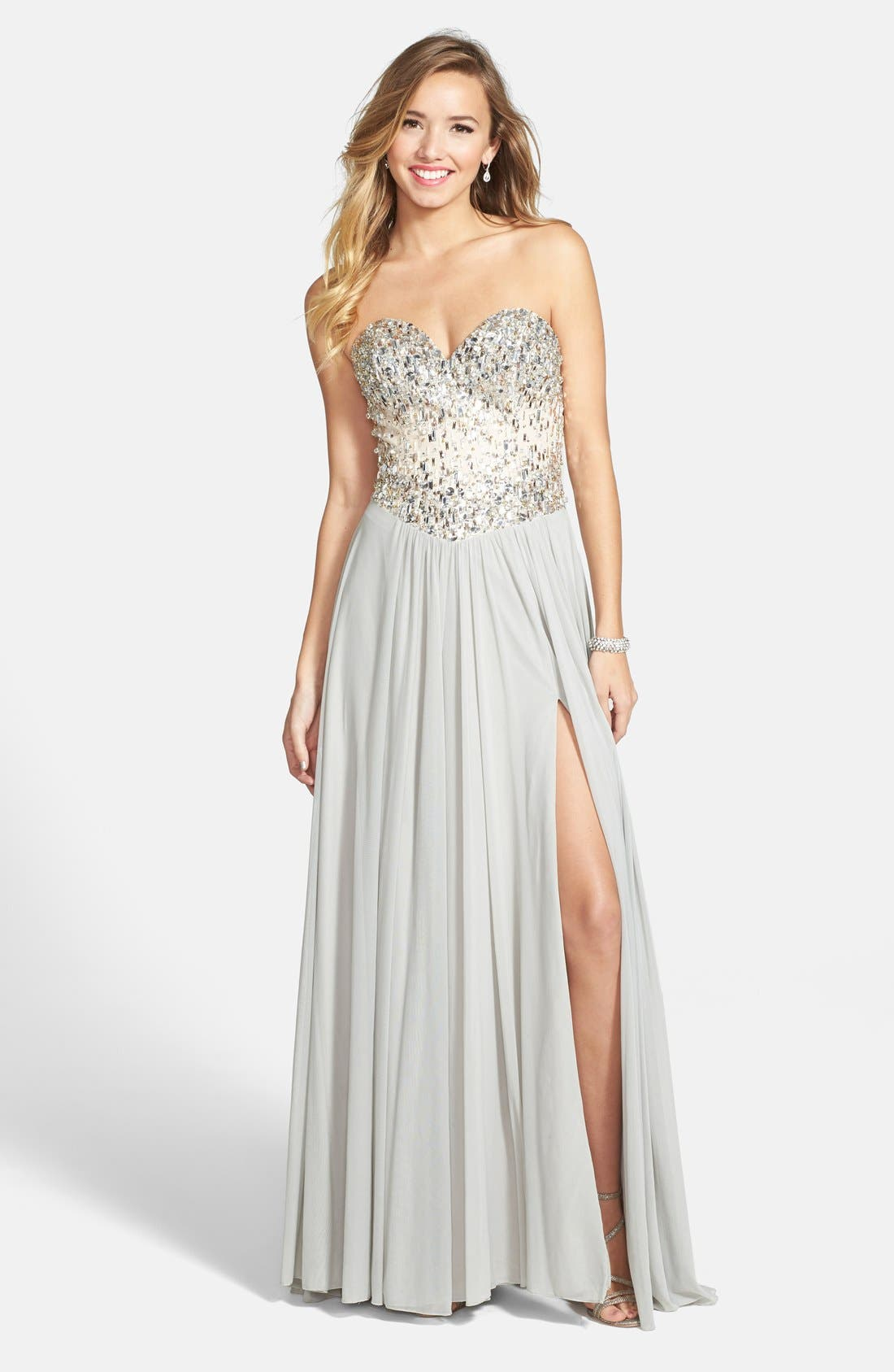 Alternate Image 1 Selected - Terani Couture Embellished Strapless Chiffon Gown