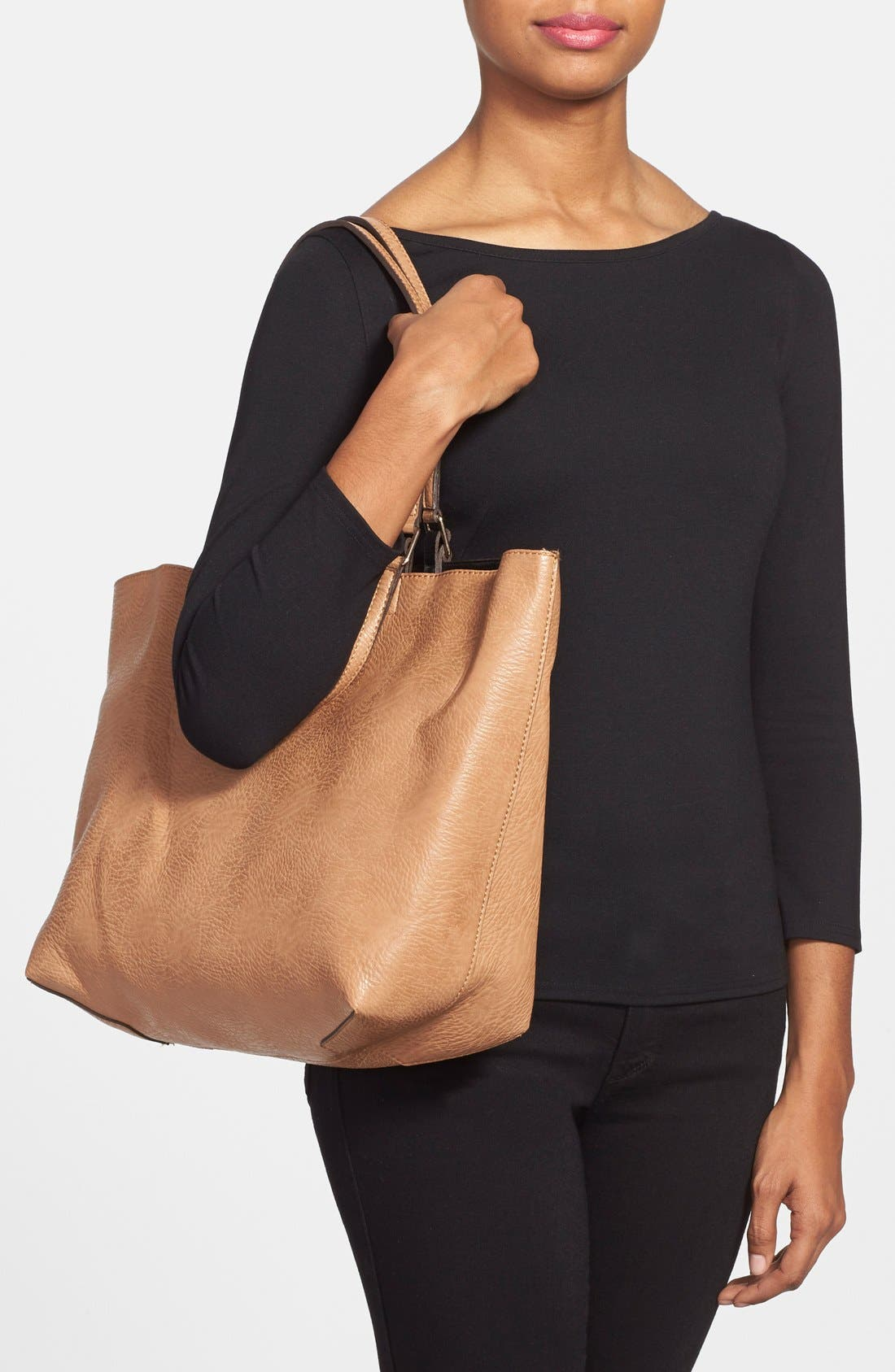 Reversible Faux Leather Tote,                             Alternate thumbnail 2, color,                             Tan/ Black