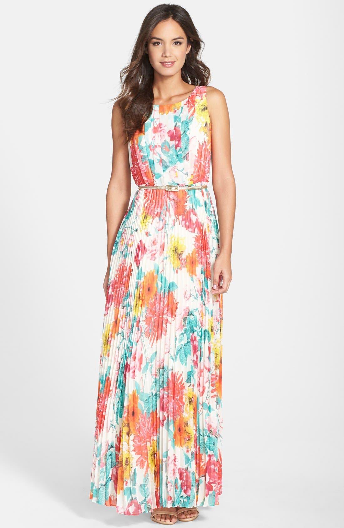 Main Image - Eliza J Belted Floral Print Chiffon Maxi Dress (Regular & Petite)