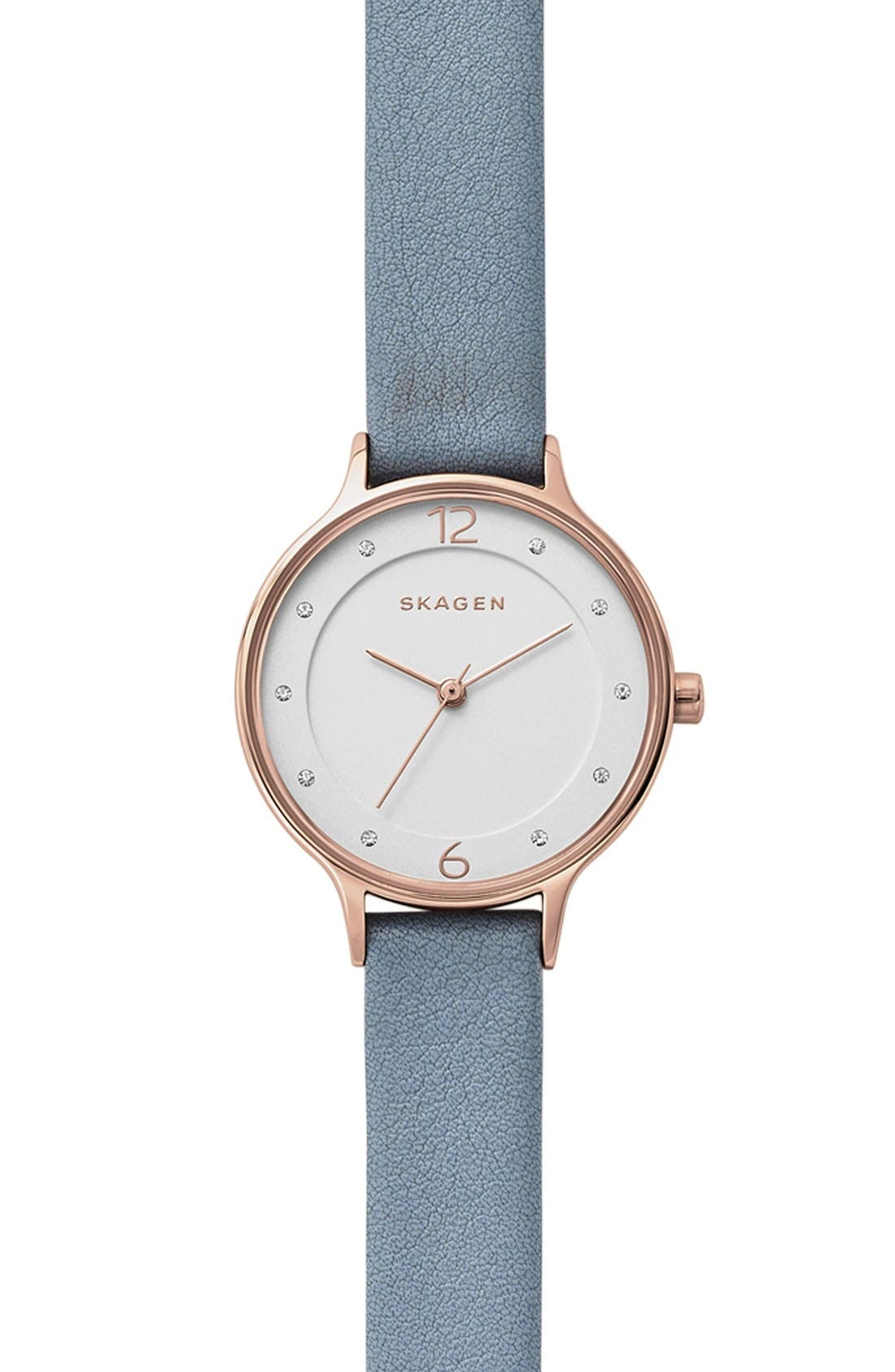 Alternate Image 1 Selected - Skagen Anita Leather Strap Watch, 30mm