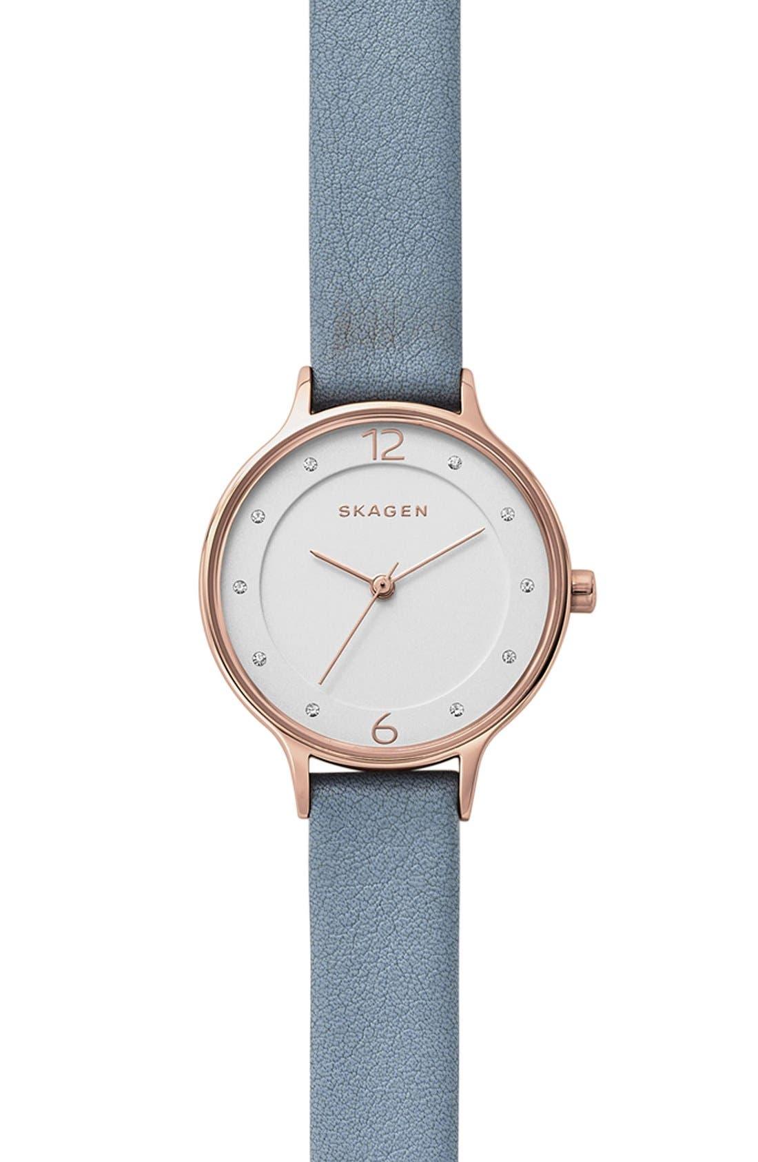 Skagen Anita Leather Strap Watch, 30mm