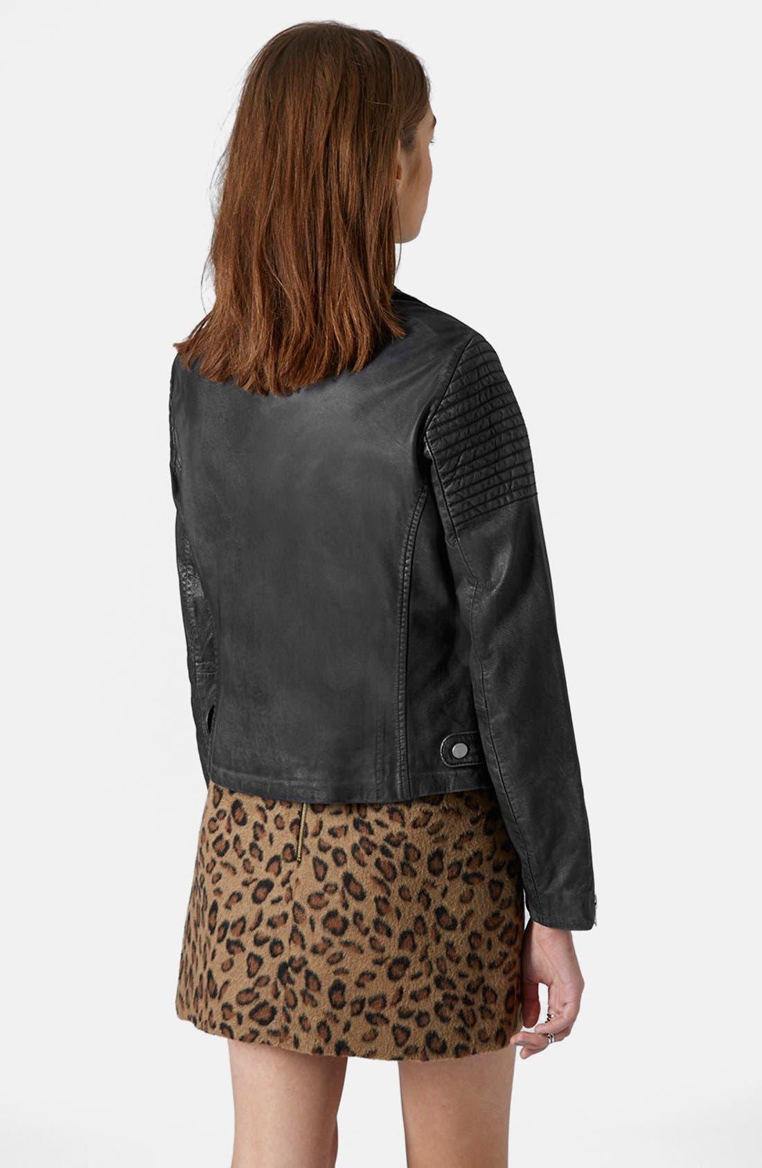 Alternate Image 2  - Topshop Sheepskin Leather Biker Jacket