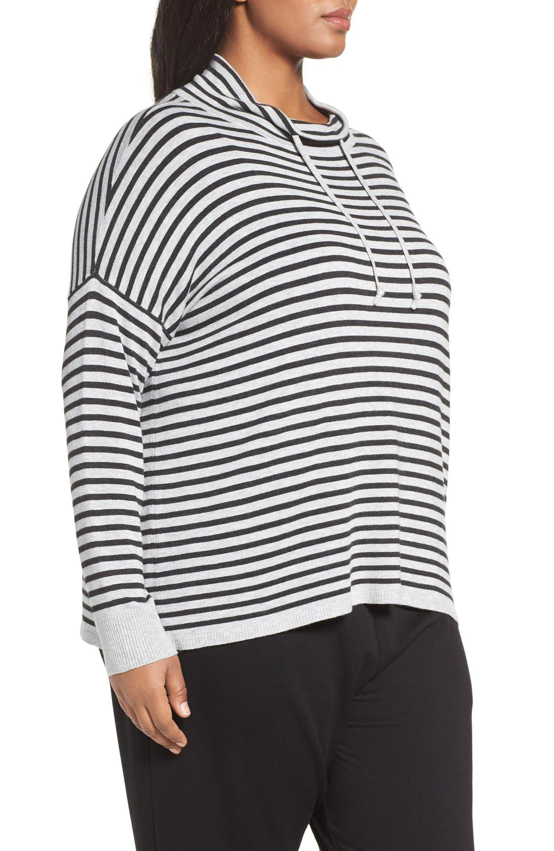 Alternate Image 3  - Eileen Fisher Stripe Funnel Neck Pullover (Plus Size)