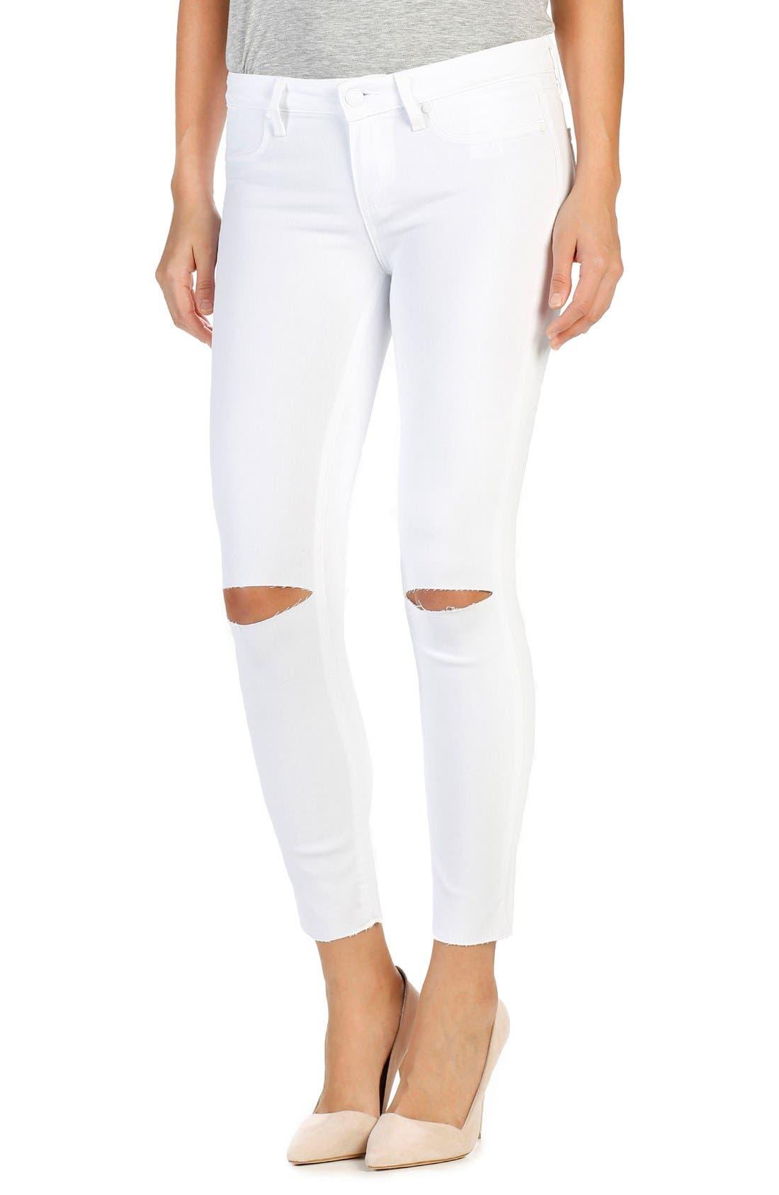 Transcend - Verdugo Ankle Skinny Jeans,                         Main,                         color, White Cloud Destructed