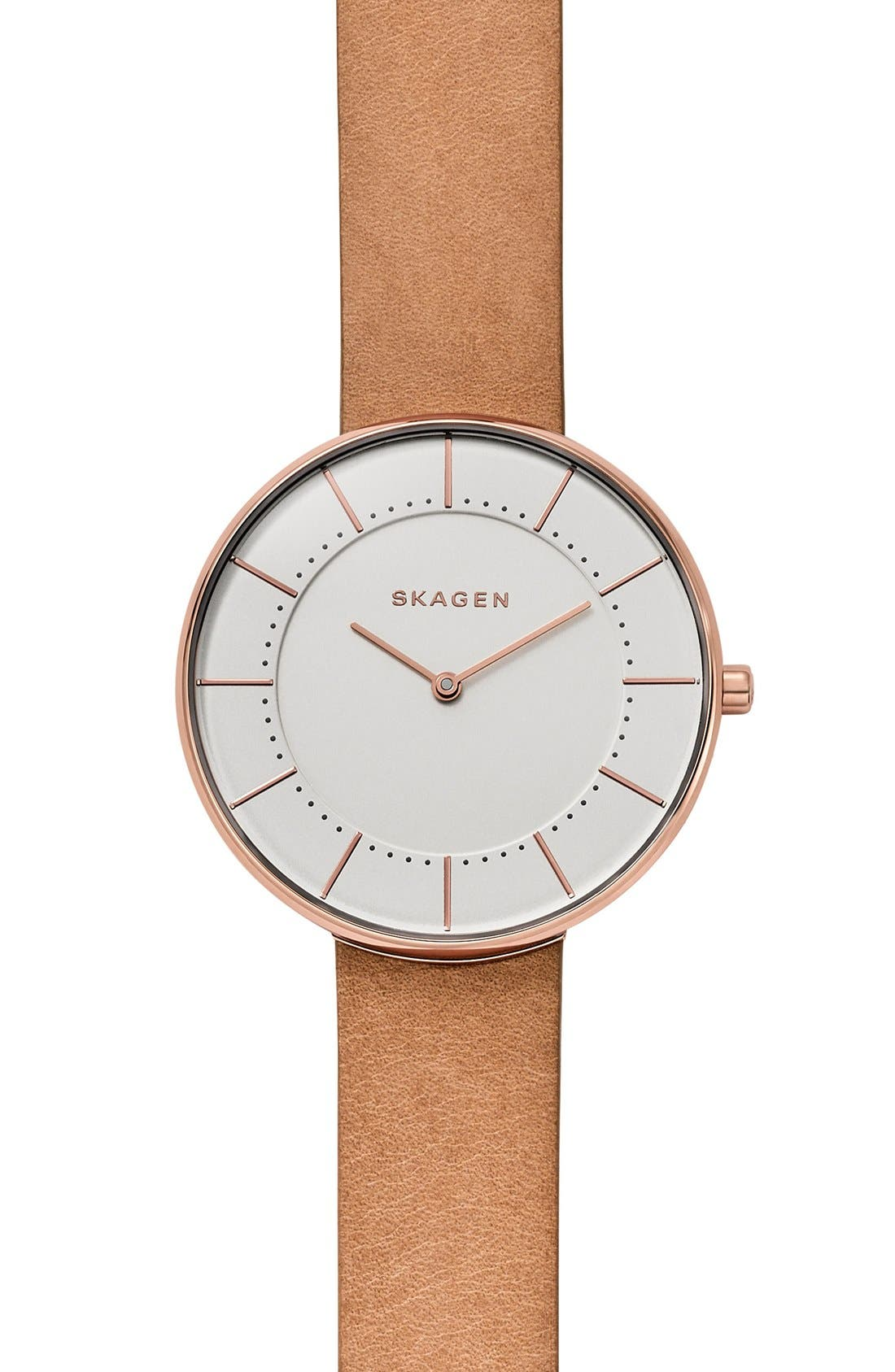 SKAGEN Gitte Leather Strap Watch, 38mm