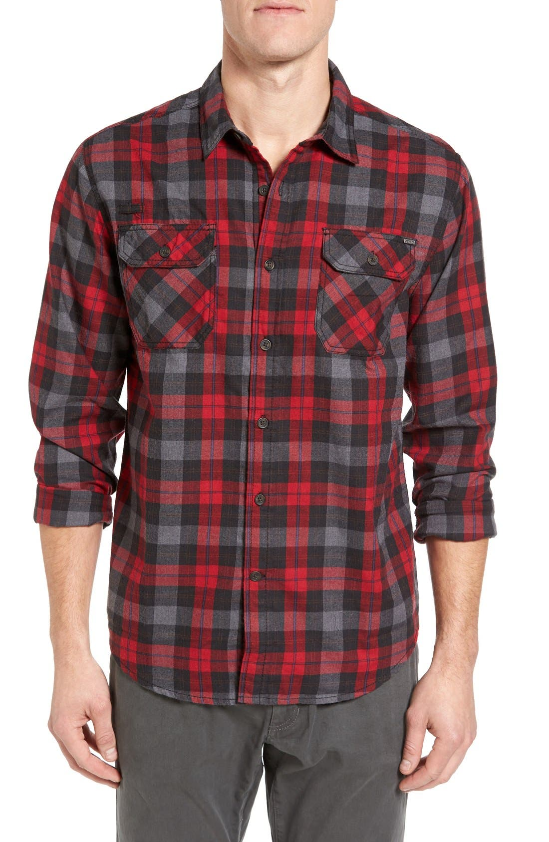 Burner Regular Fit Plaid Flannel Shirt,                             Main thumbnail 1, color,                             Fiery Red