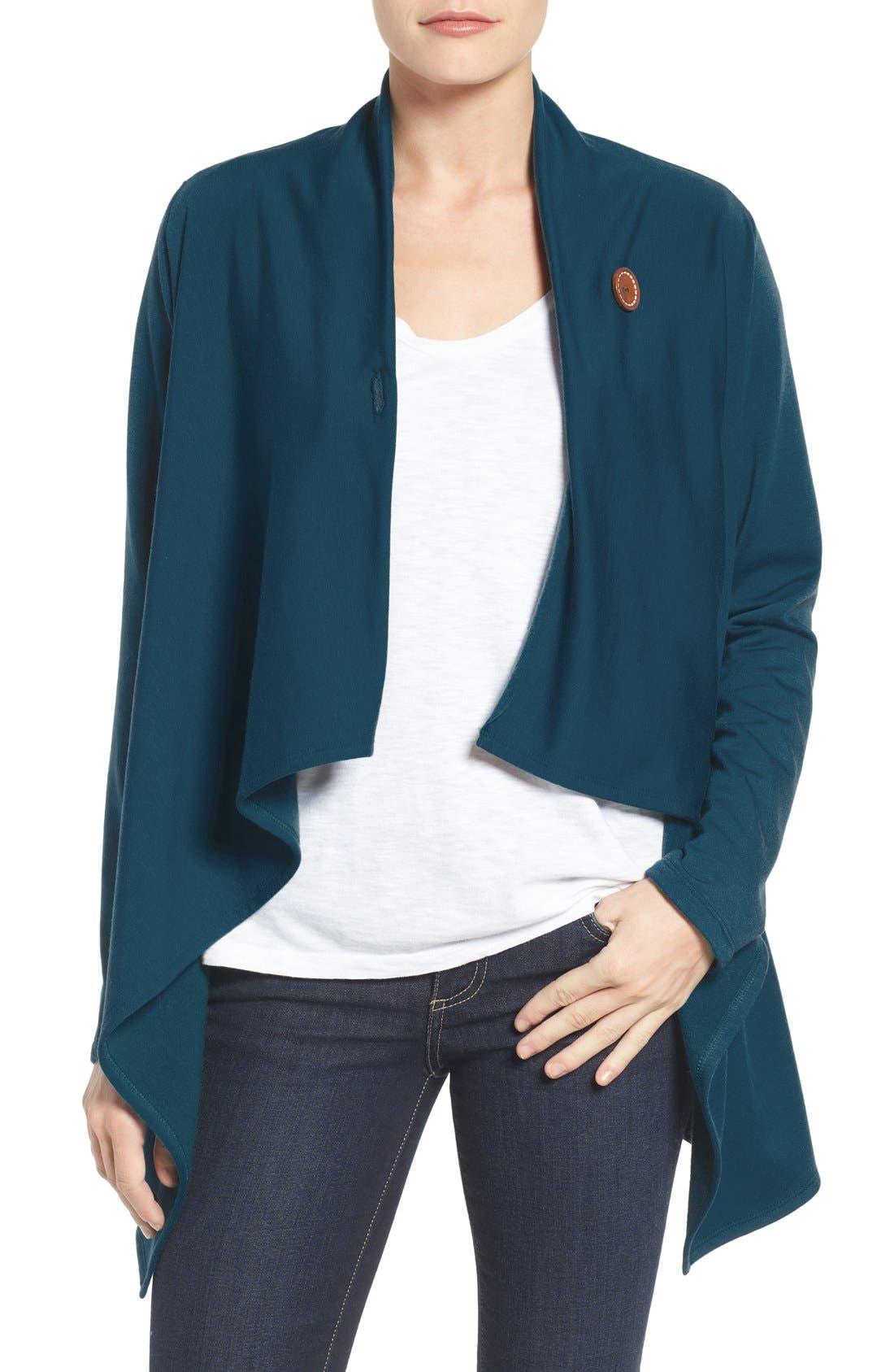 Bobeau One-Button Fleece Wrap Cardigan (Regular & Petite)