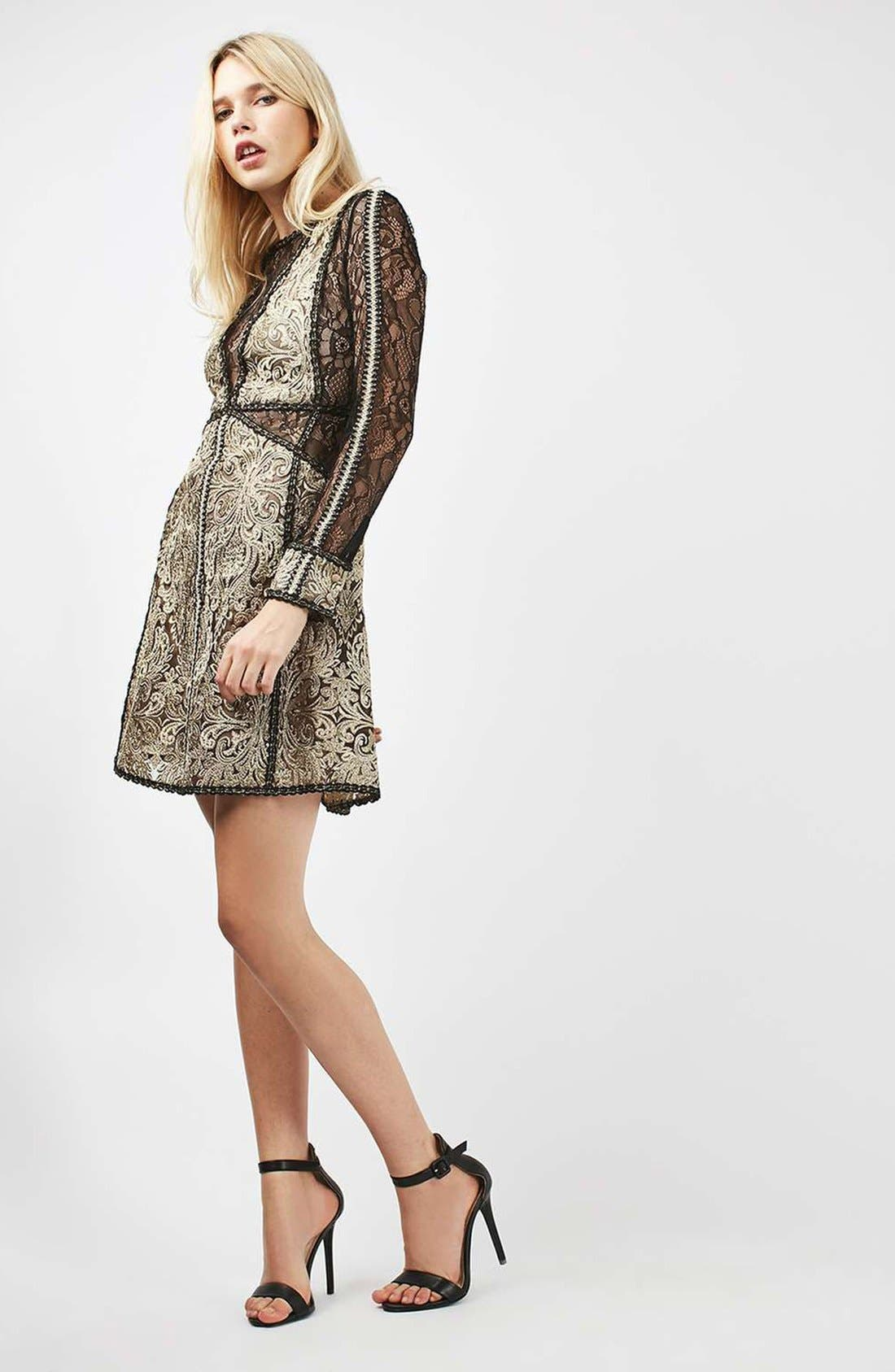 Alternate Image 2  - Topshop Lace A-Line Dress