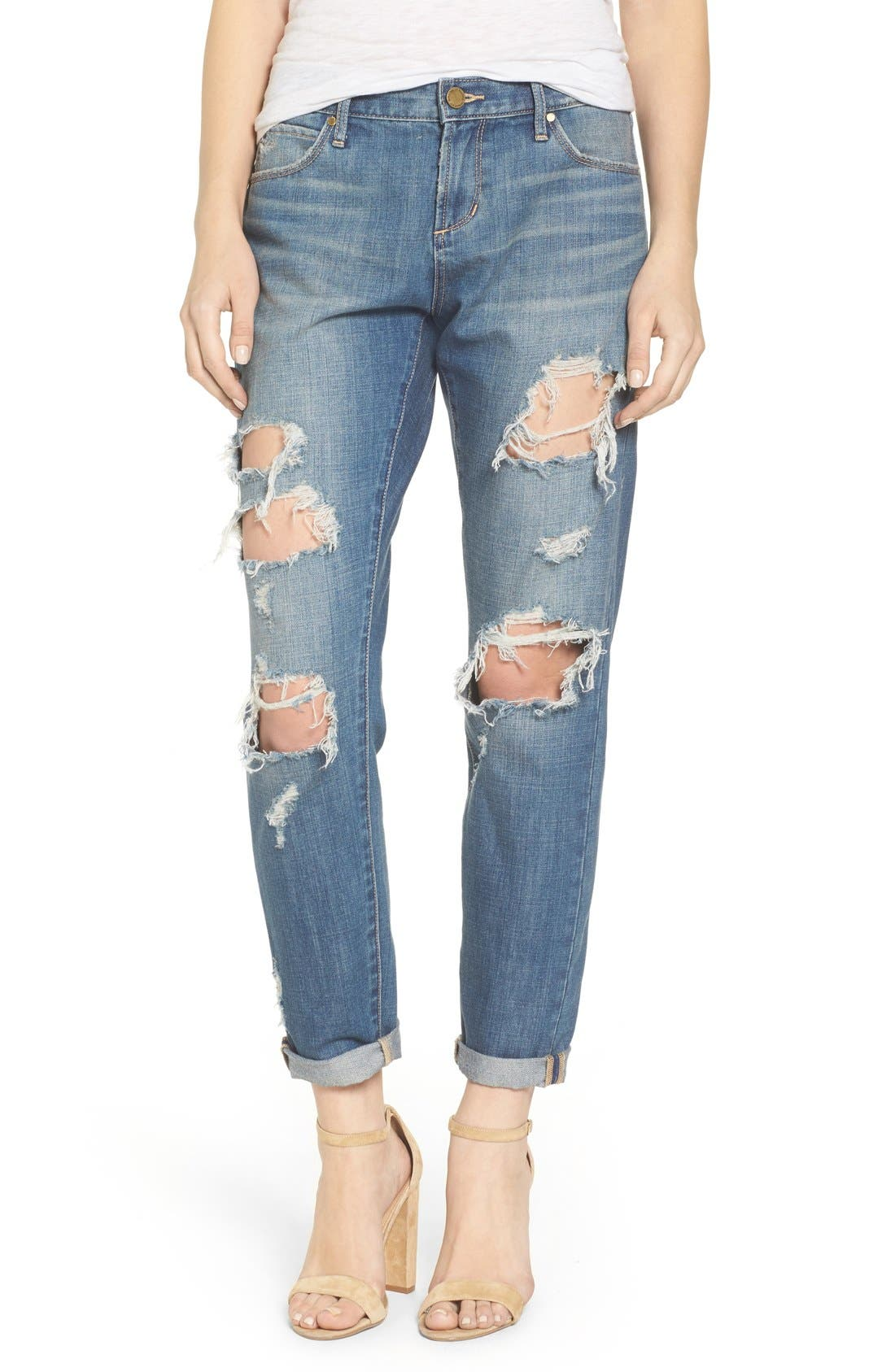 Main Image - Articles of Society Janis Ripped Boyfriend Jeans (Fisk)