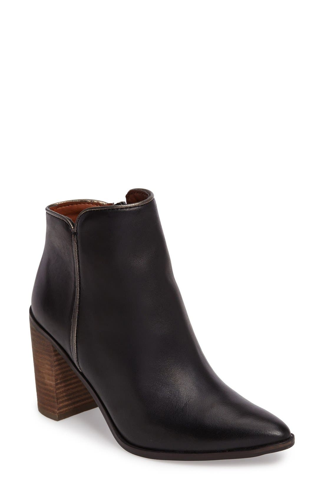 Mytah Pointy Toe Bootie,                         Main,                         color, Black Leather