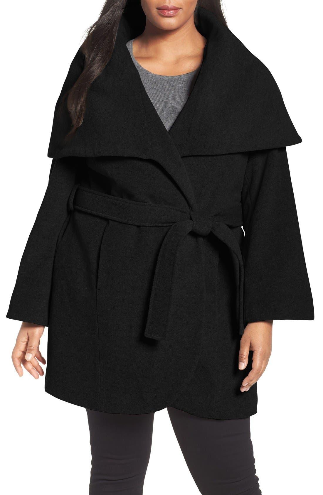 Tahari Marla Cutaway Wrap Coat with Oversize Collar
