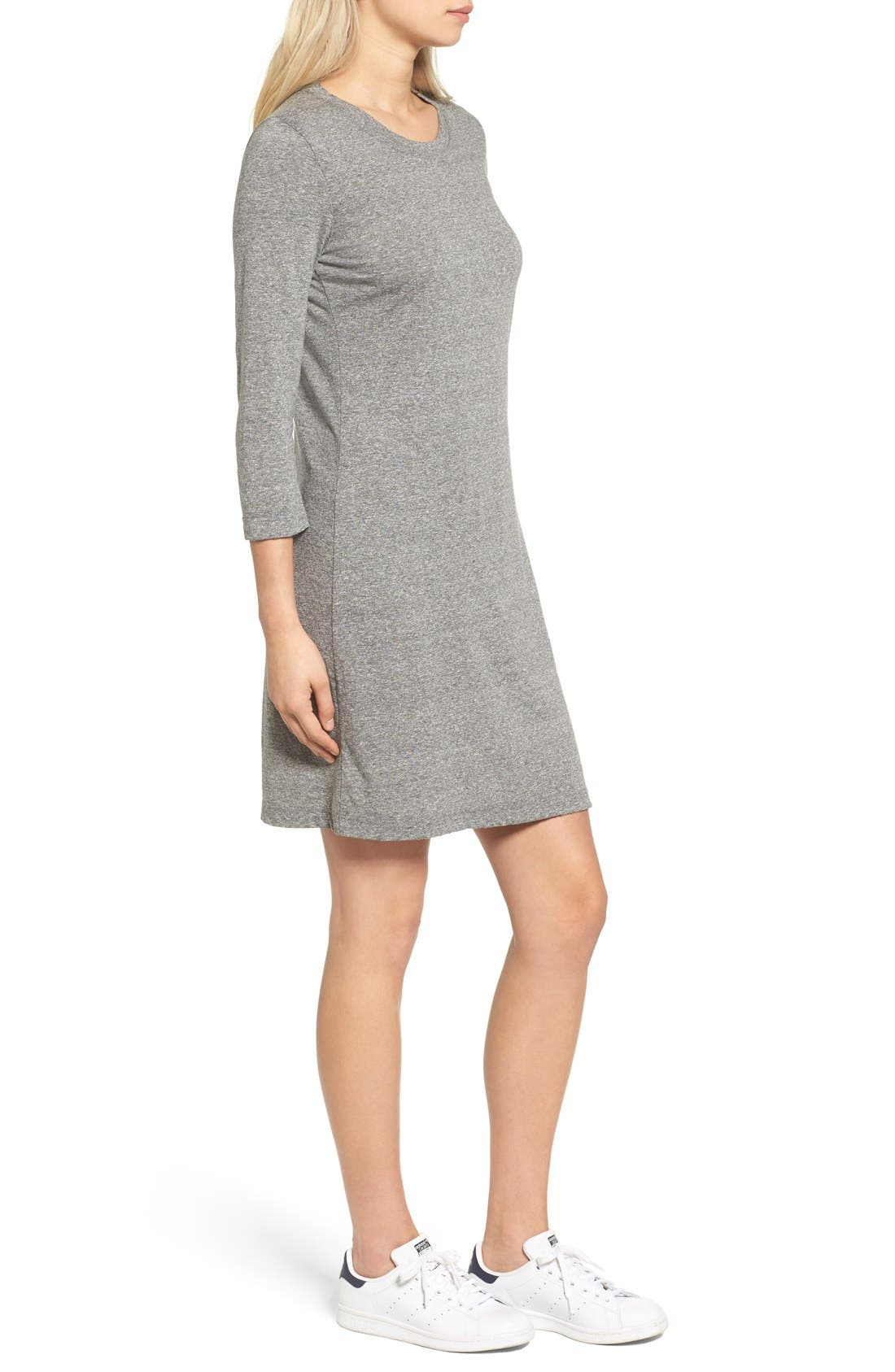 T-Shirt Dress,                             Alternate thumbnail 3, color,                             Heather Grey