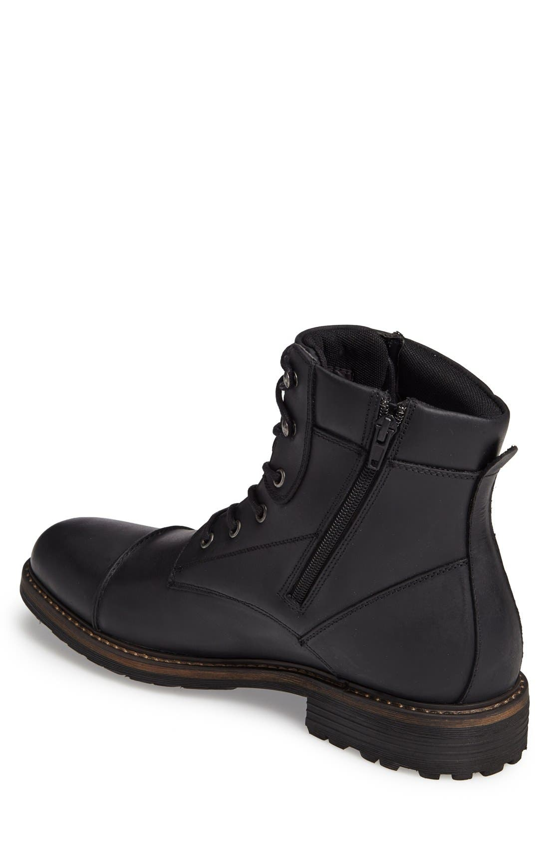 Derek Cap Toe Boot,                             Alternate thumbnail 3, color,                             Black Leather