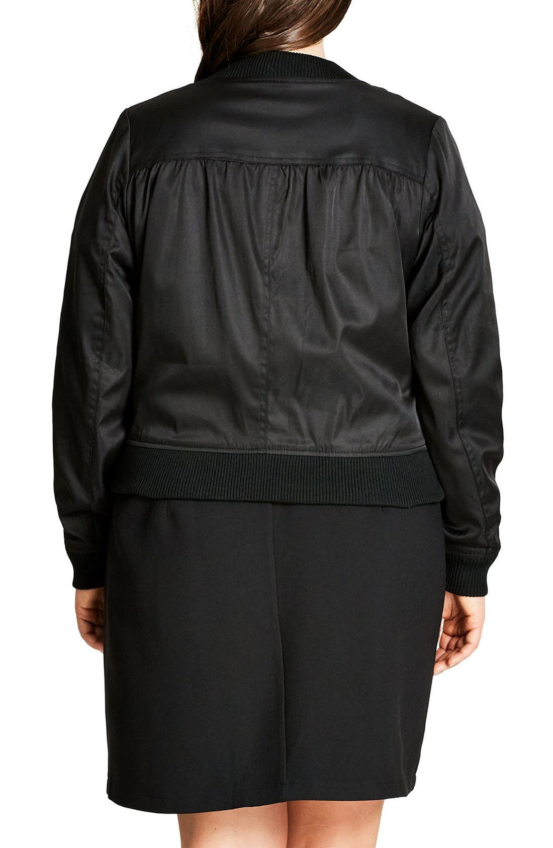 Alternate Image 2  - City Chic Zip Front Bomber Jacket (Plus Size)