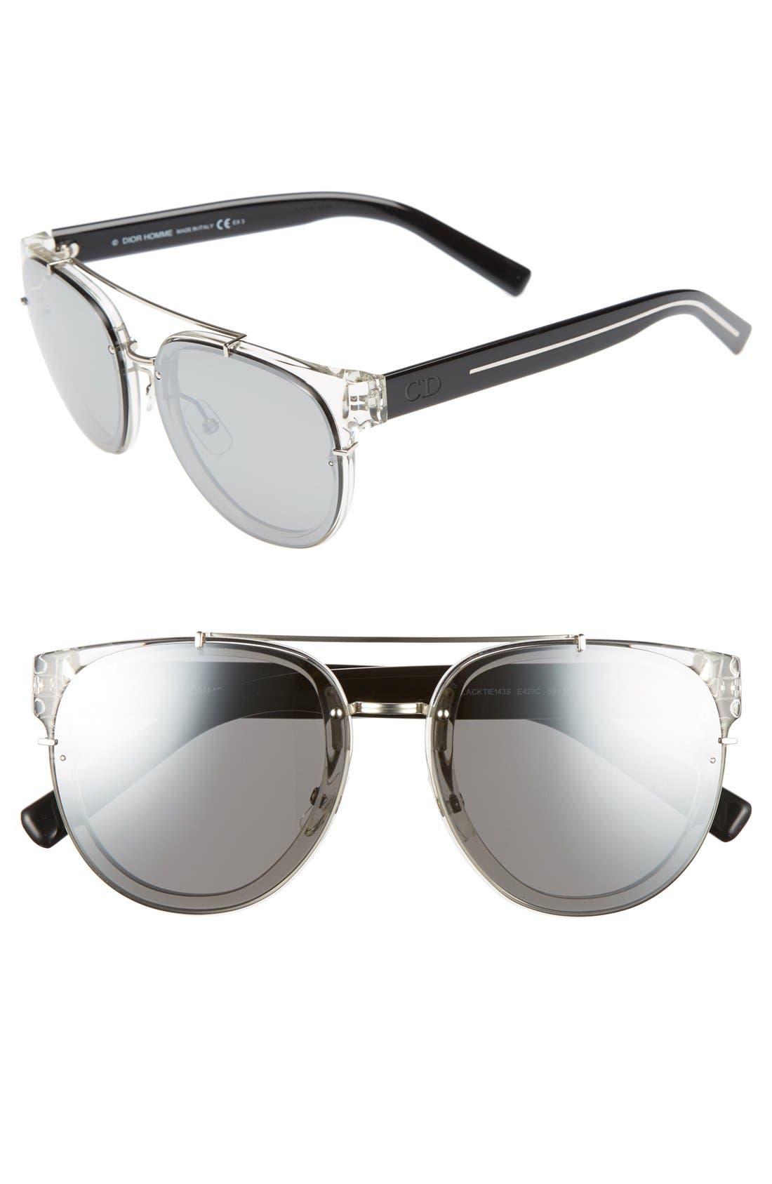 'Black Tie' 56mm Sunglasses,                             Main thumbnail 1, color,                             Crystal Black Crystal