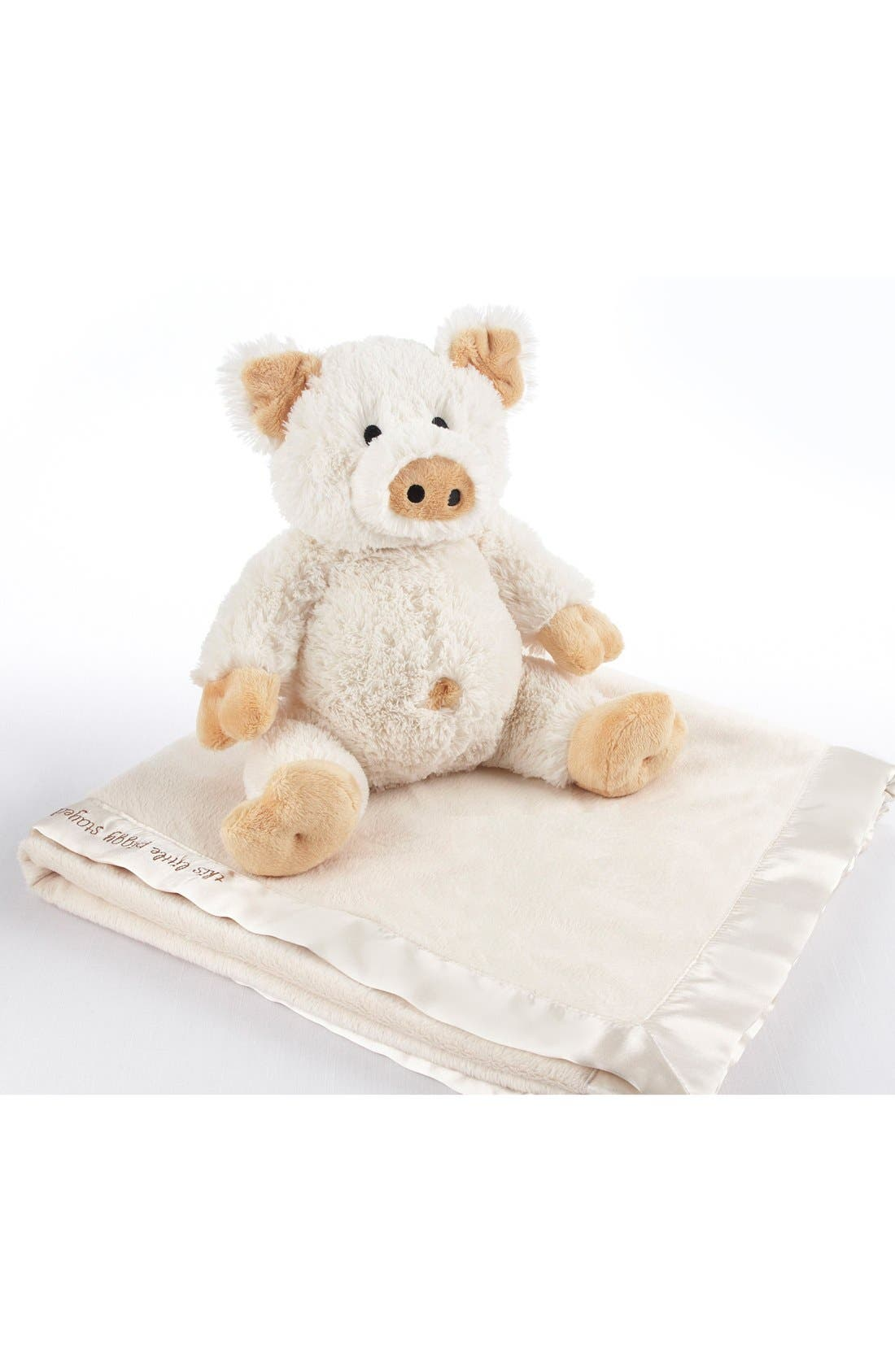 Pig Stuffed Animal & Blanket Set,                             Main thumbnail 1, color,                             Cream