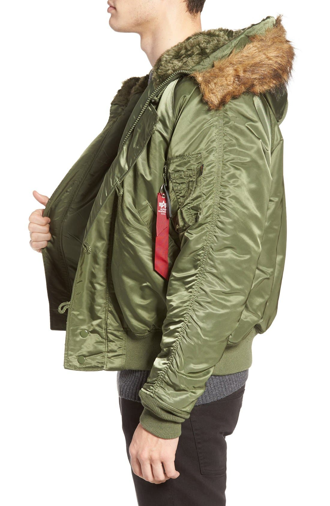 N-2B Short Hooded Parka,                             Alternate thumbnail 3, color,                             Sage Green