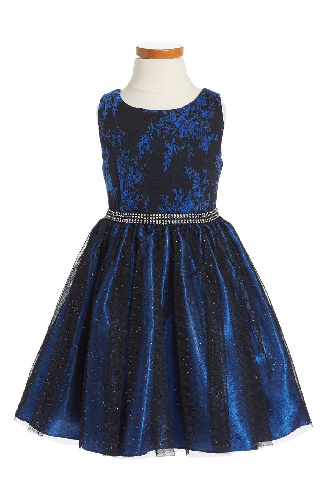 Main Image - Sweet Heart Rose Fit & Flare Dress (Toddler Girls, Little Girls & Big Girls)