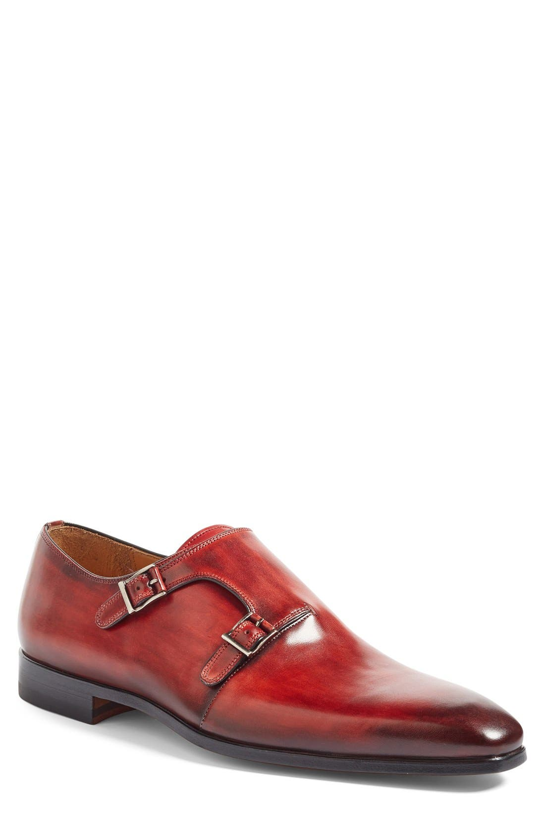Jamin Double Monk Strap Shoe,                             Main thumbnail 1, color,                             Red Leather