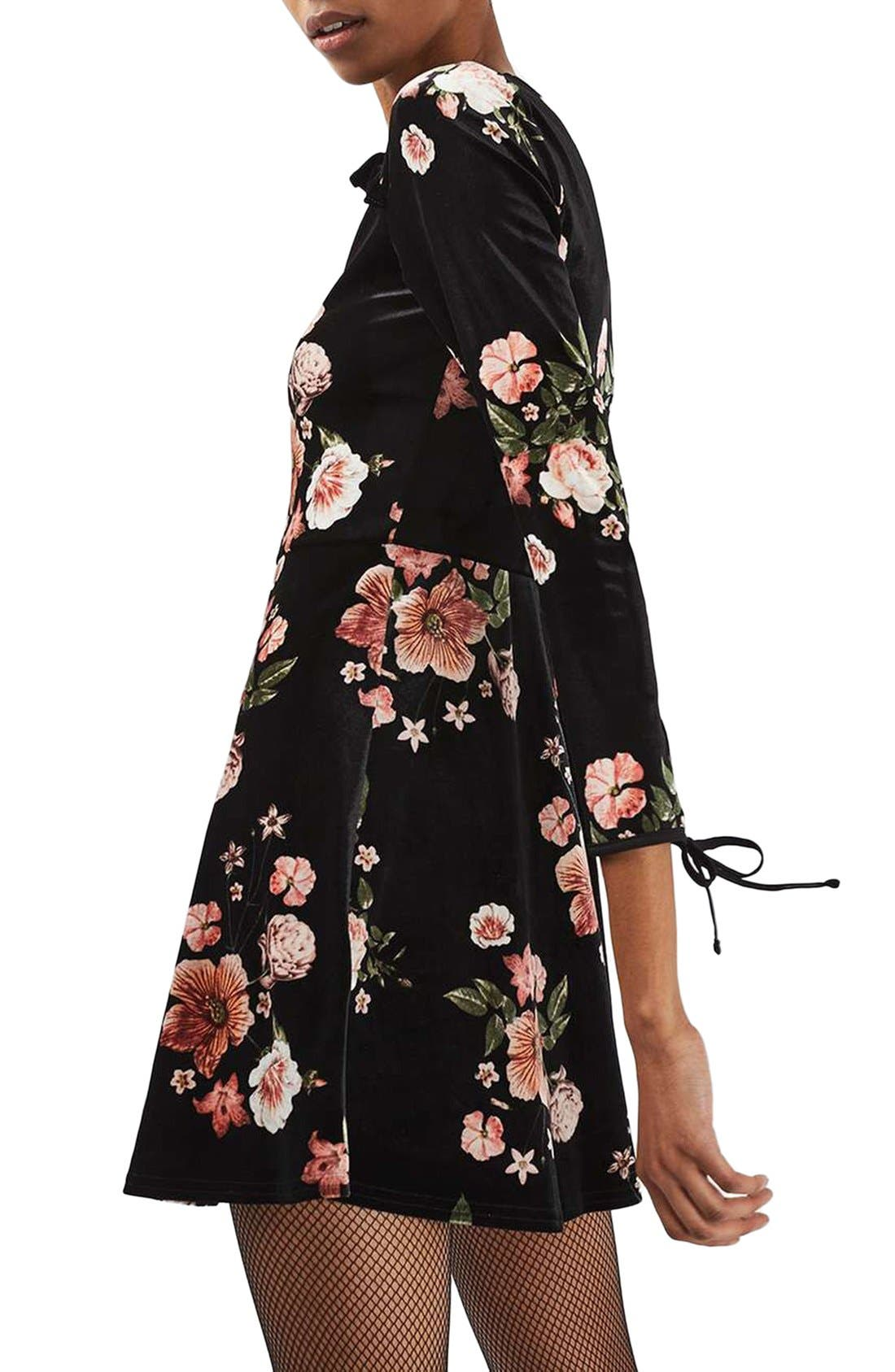 Alternate Image 3  - Topshop Floral Velvet Dress