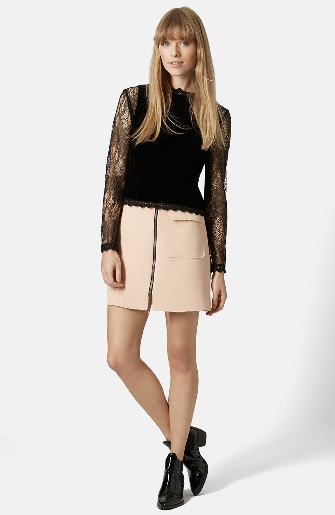 Alternate Image 5  - Topshop Lace Sleeve Velvet Top