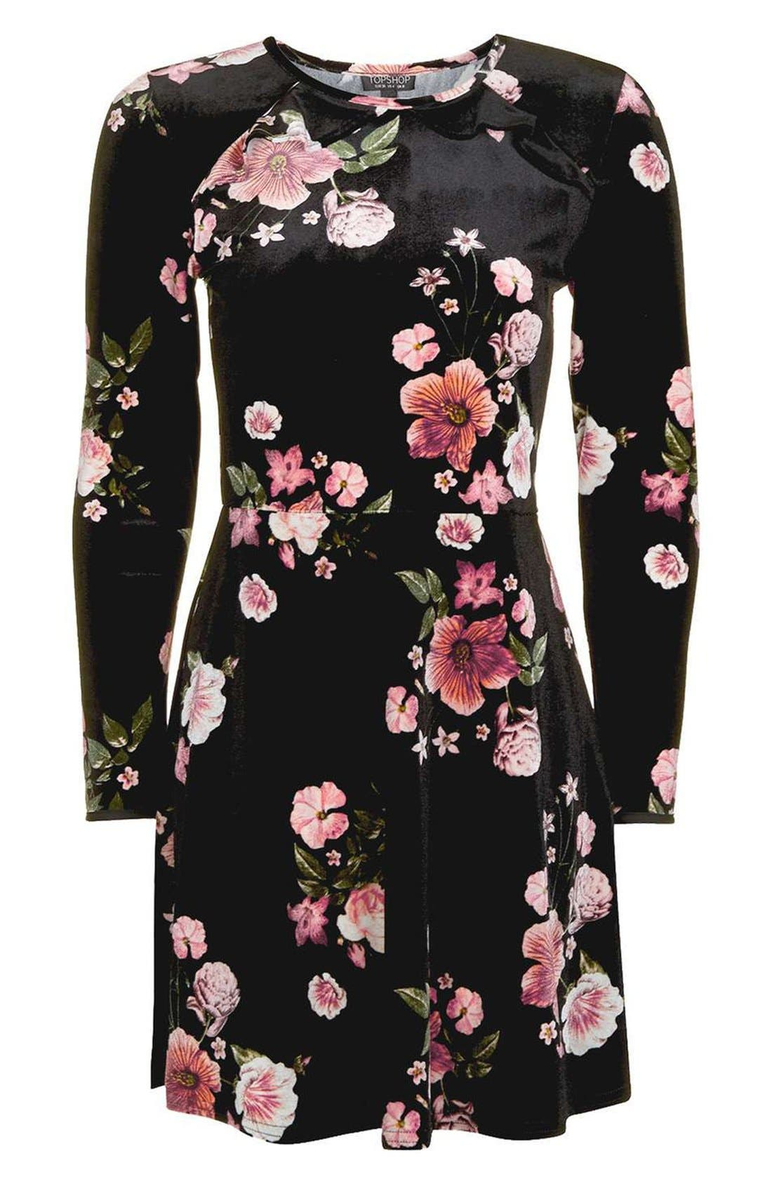 Alternate Image 4  - Topshop Floral Velvet Dress
