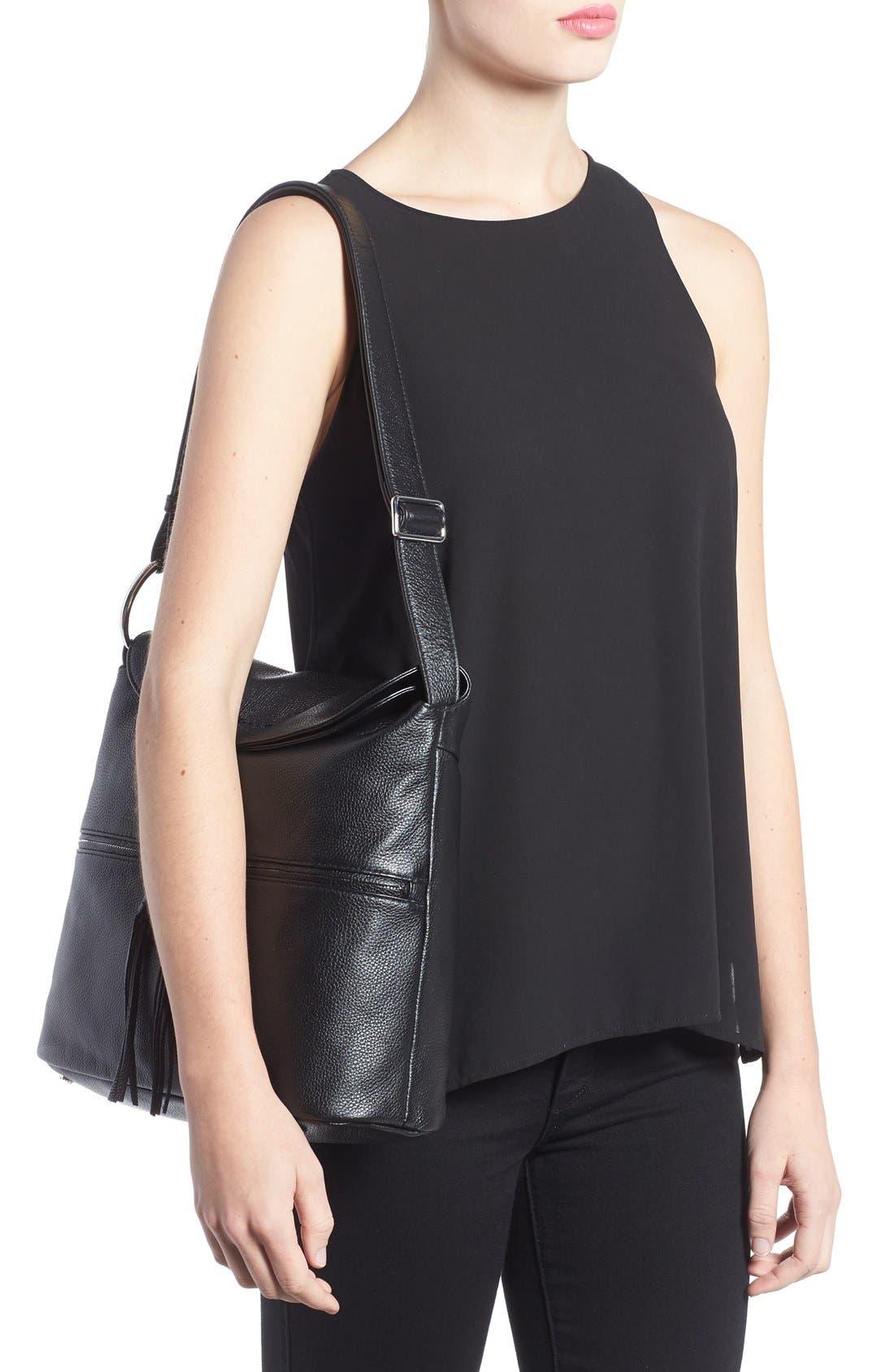 Finley Leather Hobo Bag,                             Alternate thumbnail 2, color,                             Black