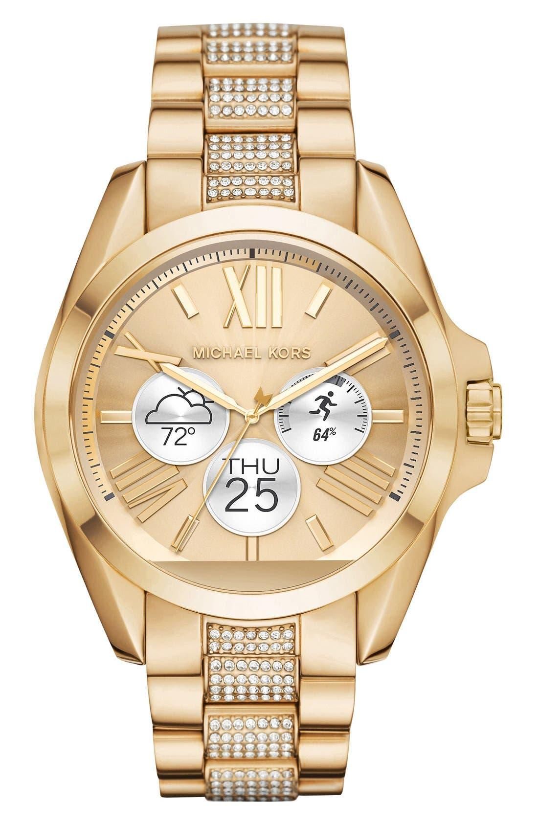 MICHAEL Michael Kors Bradshaw Access Bracelet Smart Watch, 45mm,                             Alternate thumbnail 2, color,                             Gold/ Silver