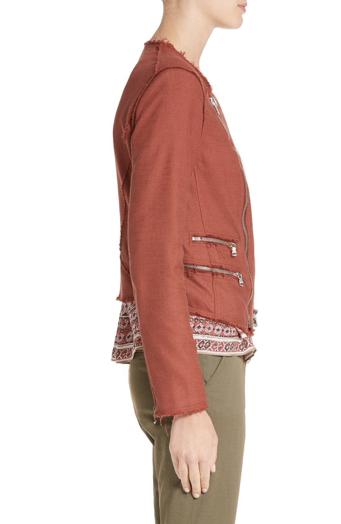 Alternate Image 4  - Veronica Beard Stevie Fringe Trim Moto Jacket