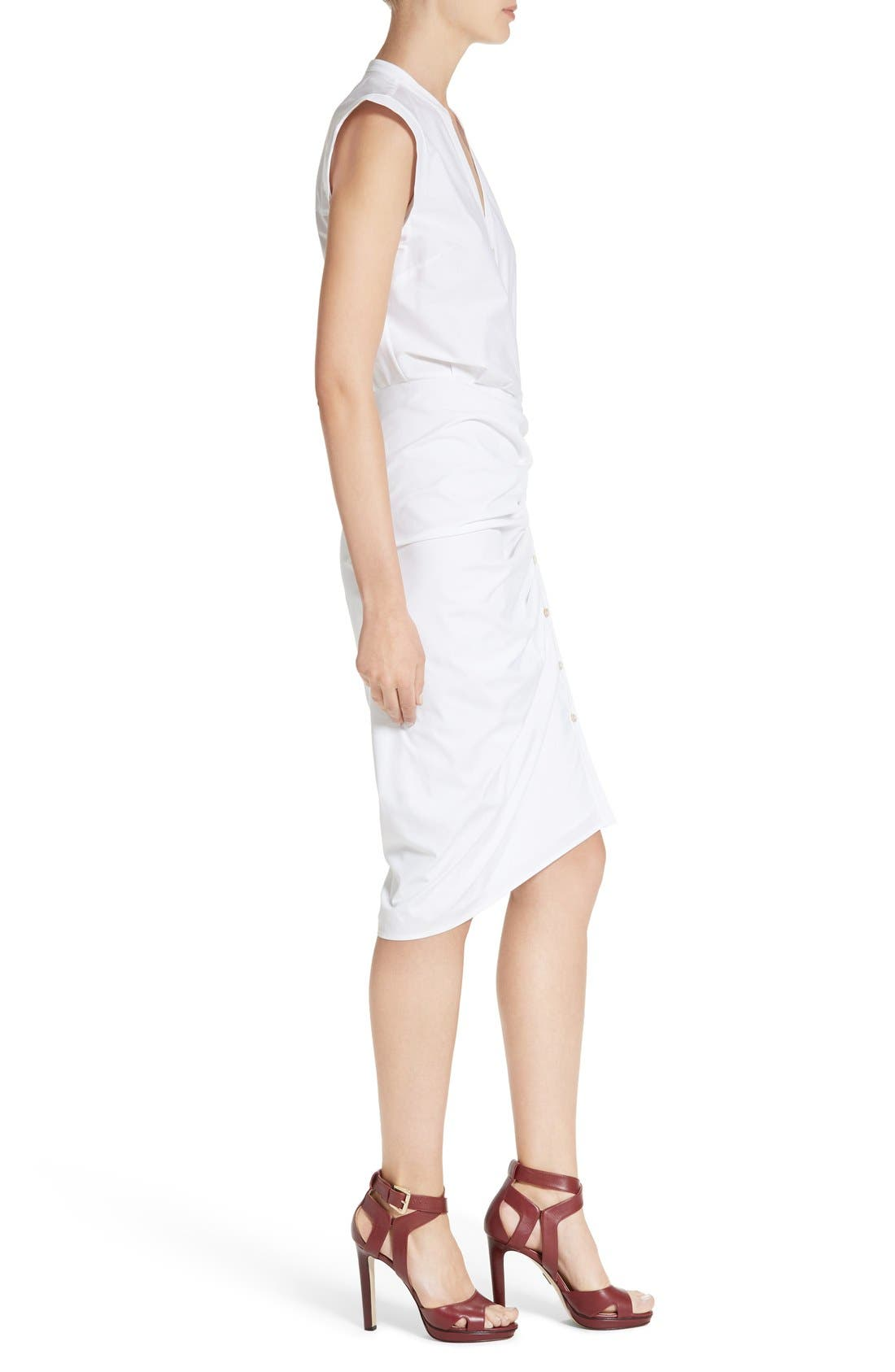 Ruched Shirtdress,                             Alternate thumbnail 3, color,                             White