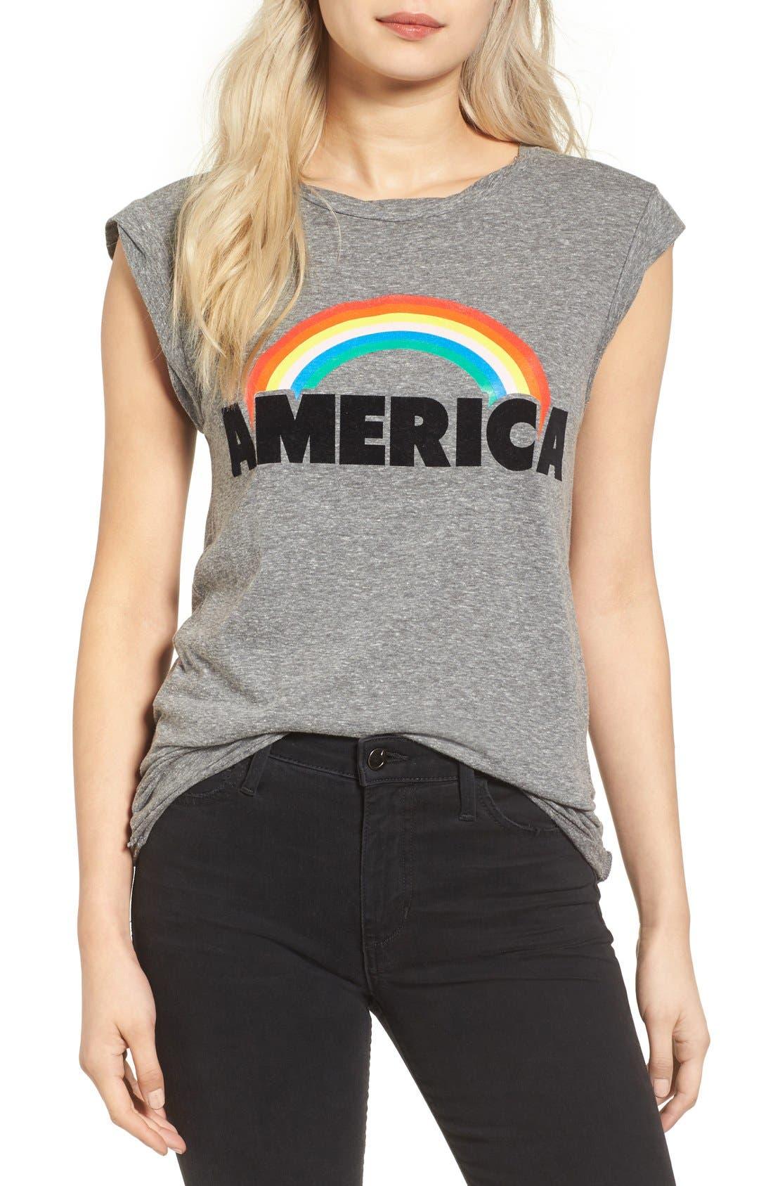Frankie America Muscle Tee,                         Main,                         color, Heather Grey
