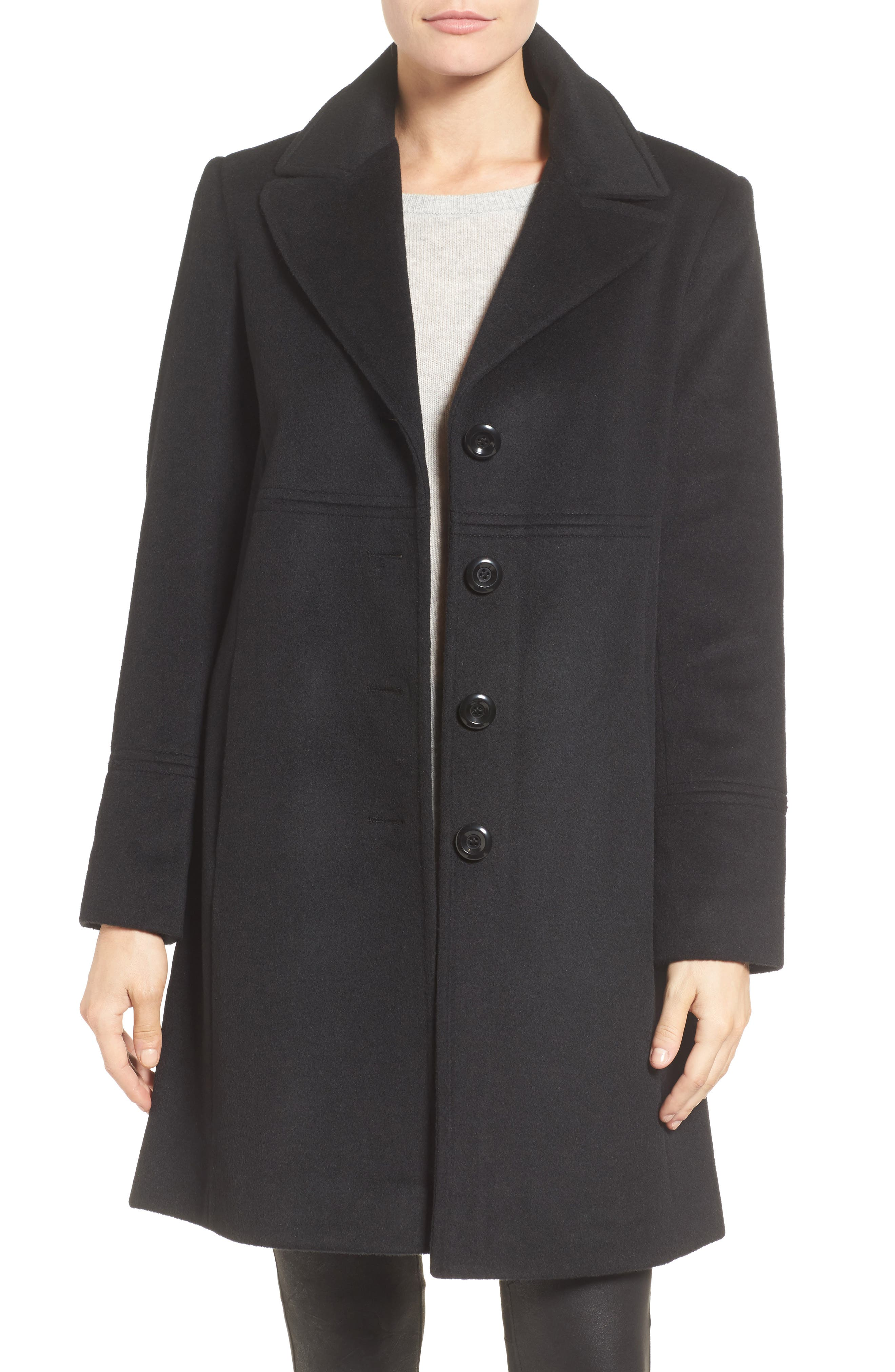 Notch Collar Wool Blend Coat,                             Main thumbnail 1, color,                             Black