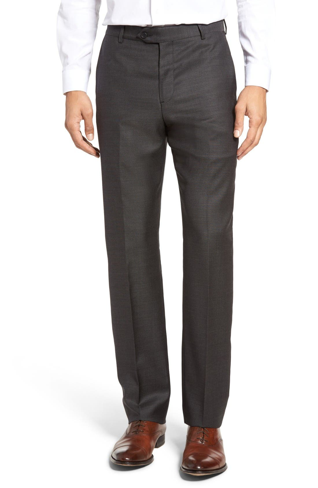 Main Image - John W. Nordstrom® Flat Front Solid Wool Trousers