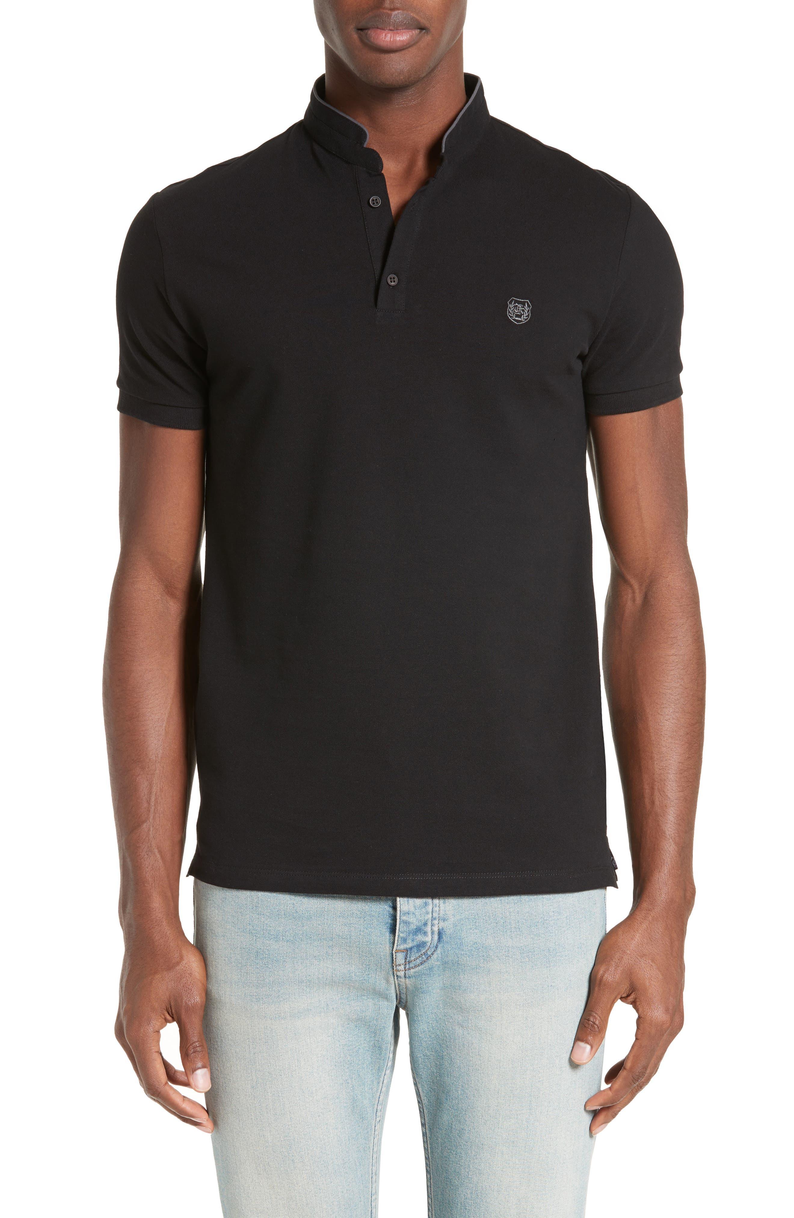 SPORT Pipe Trim Band Collar Piqué Polo,                         Main,                         color, Black/ Grey