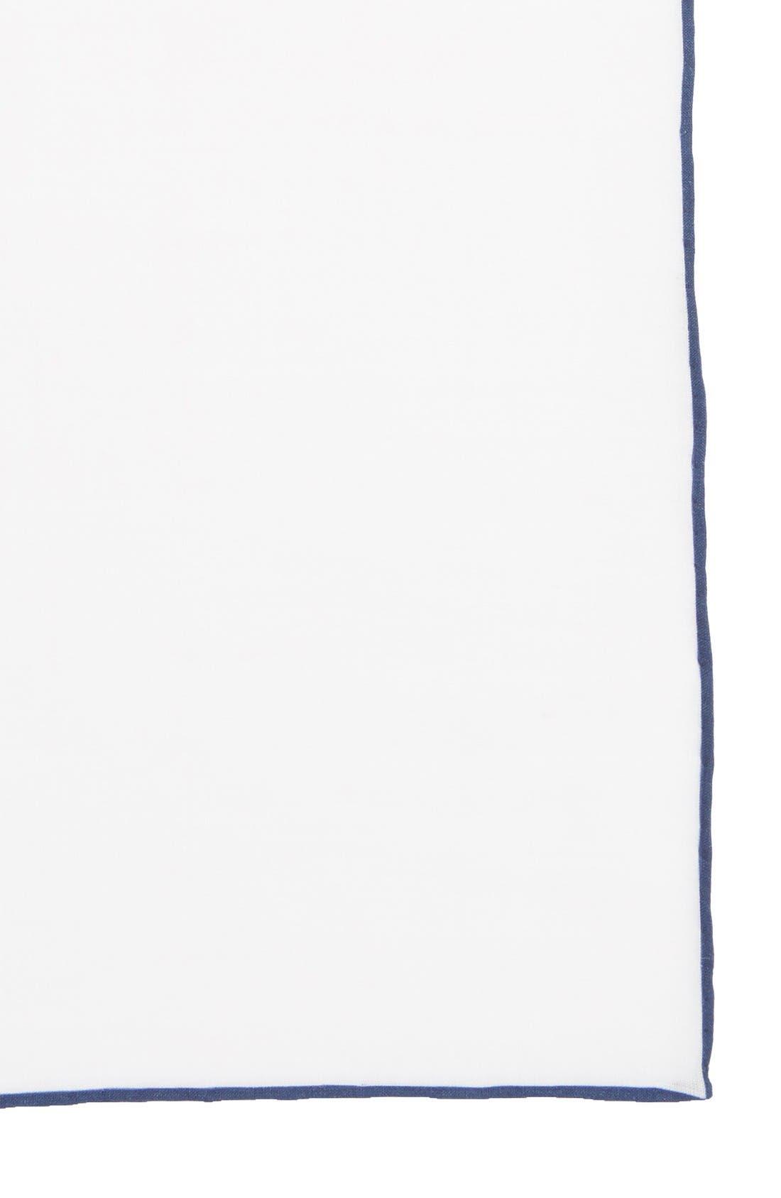 Solid Linen Pocket Square,                             Alternate thumbnail 3, color,                             Navy