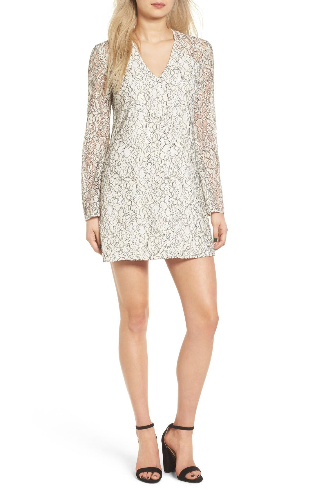 Lace Bell Sleeve Shift Dress,                             Main thumbnail 1, color,                             Ivory/ Black