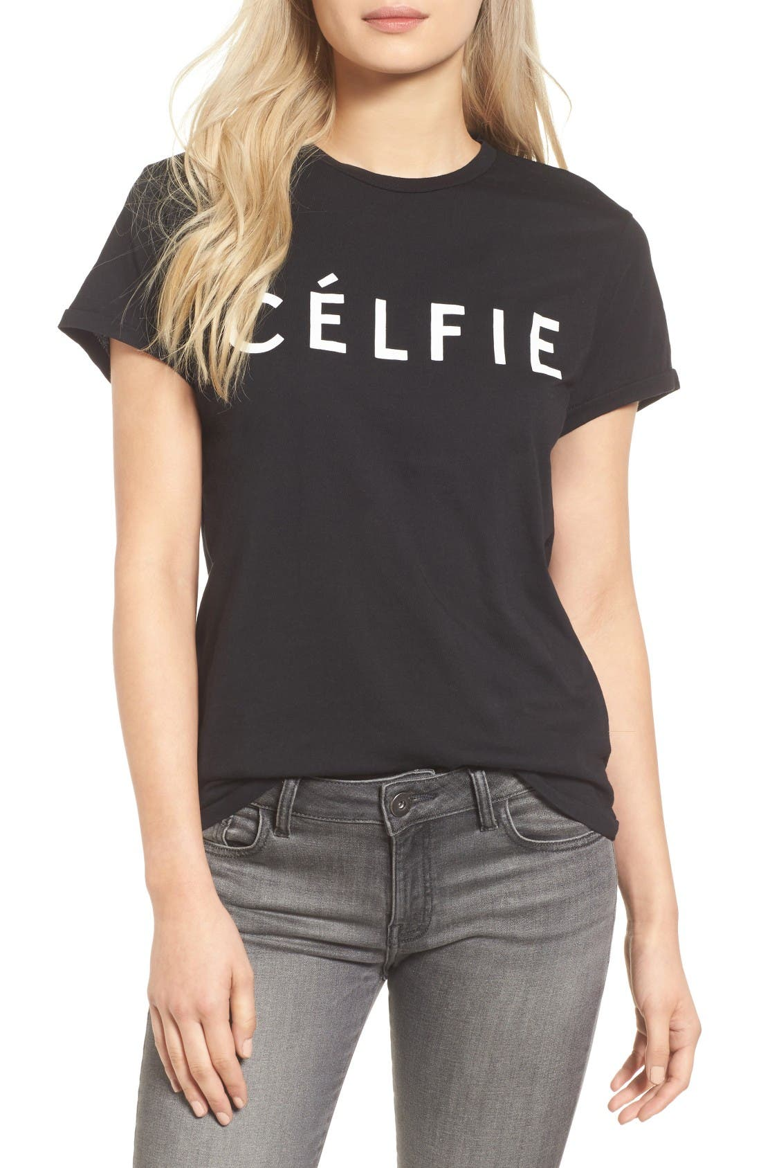 'Célfie' Graphic Tee,                             Main thumbnail 1, color,                             Black