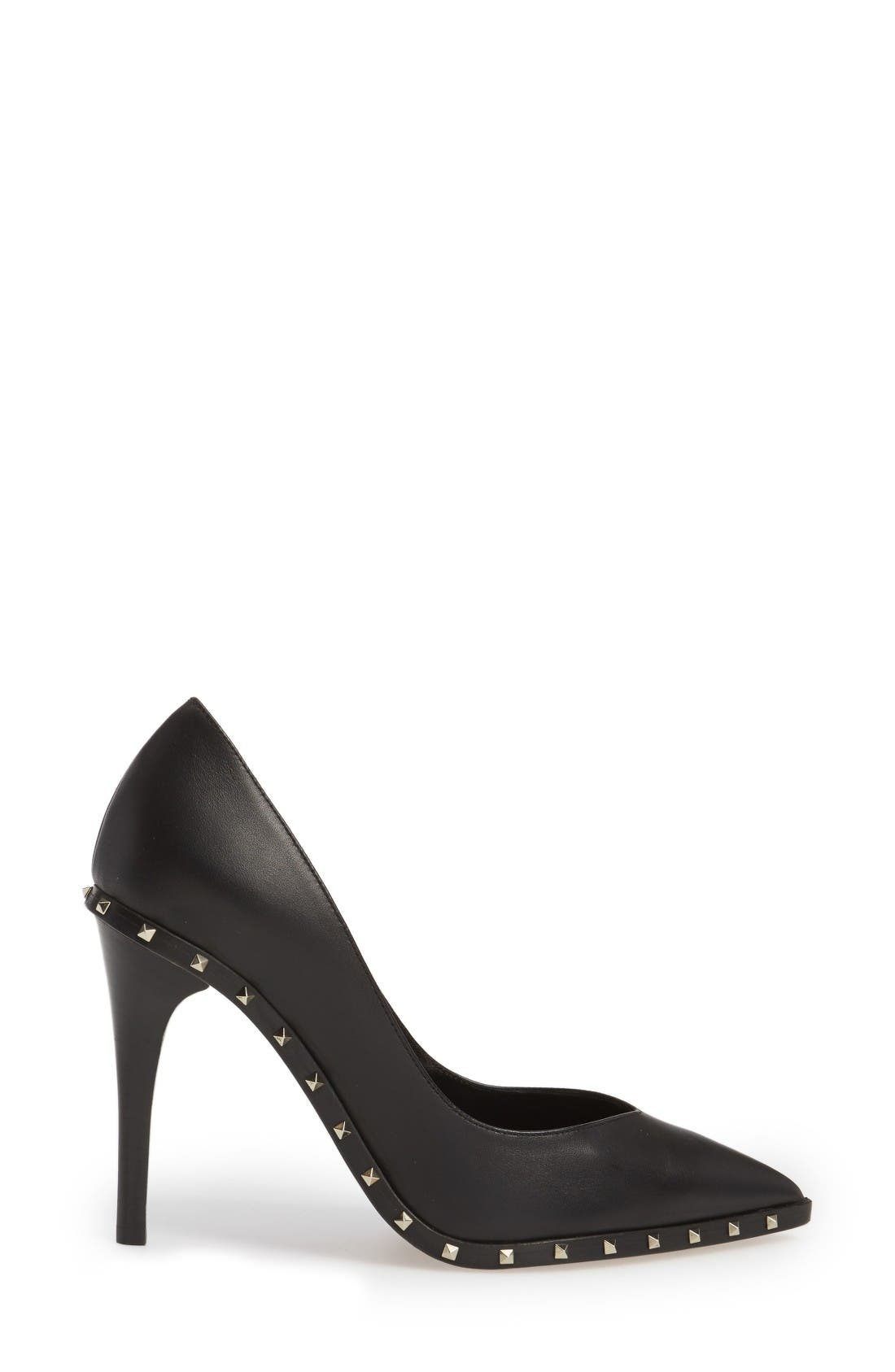 Rockstud Soul Pointy Toe Pump,                             Alternate thumbnail 4, color,                             Black Leather
