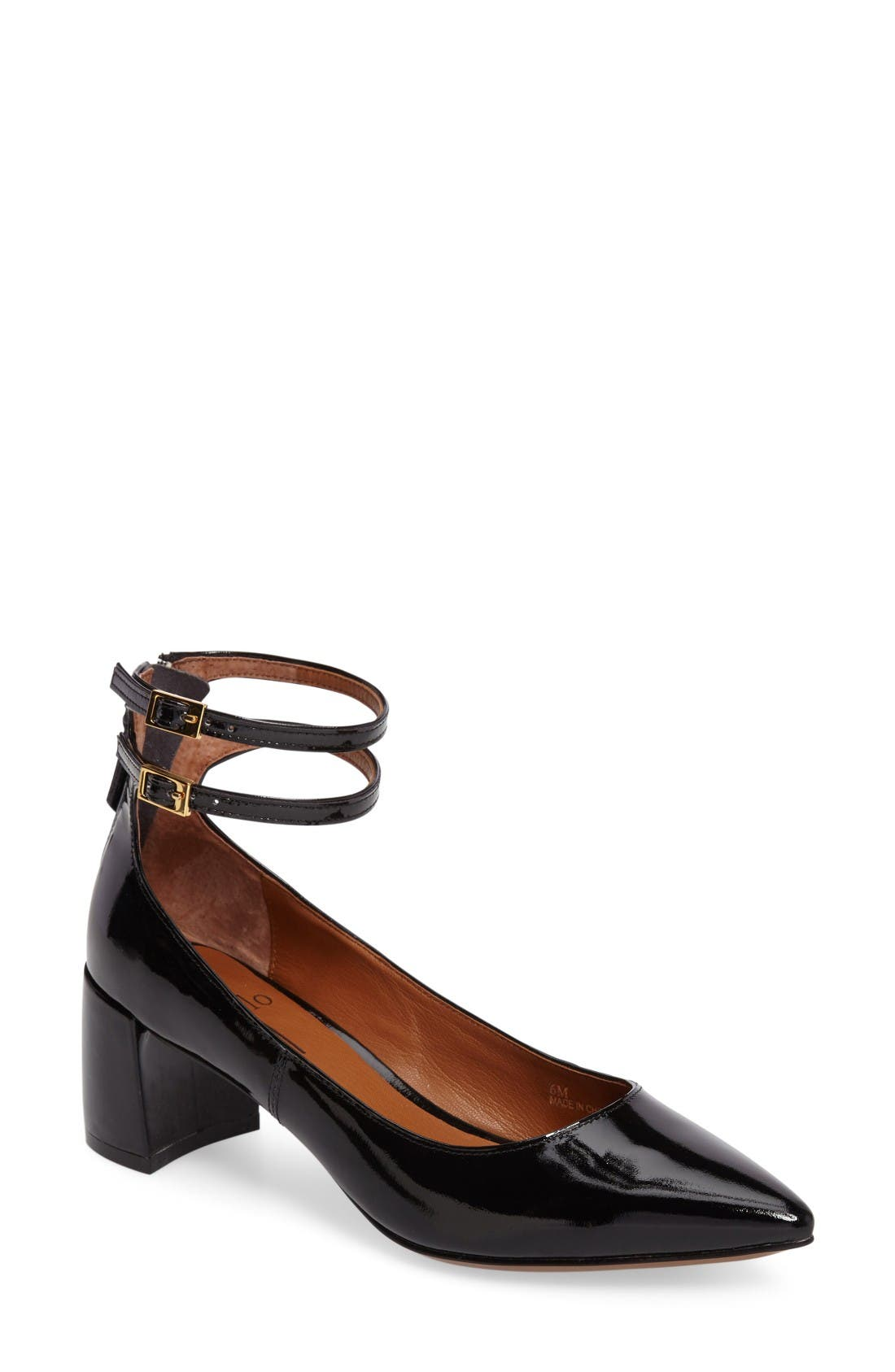 'Noel' Pointy Toe Ankle Strap Pump,                         Main,                         color, Black Patent Leather