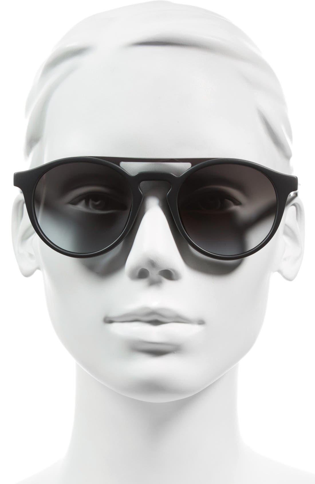 99mm Round Brow Bar Sunglasses,                             Alternate thumbnail 2, color,                             Dark Grey