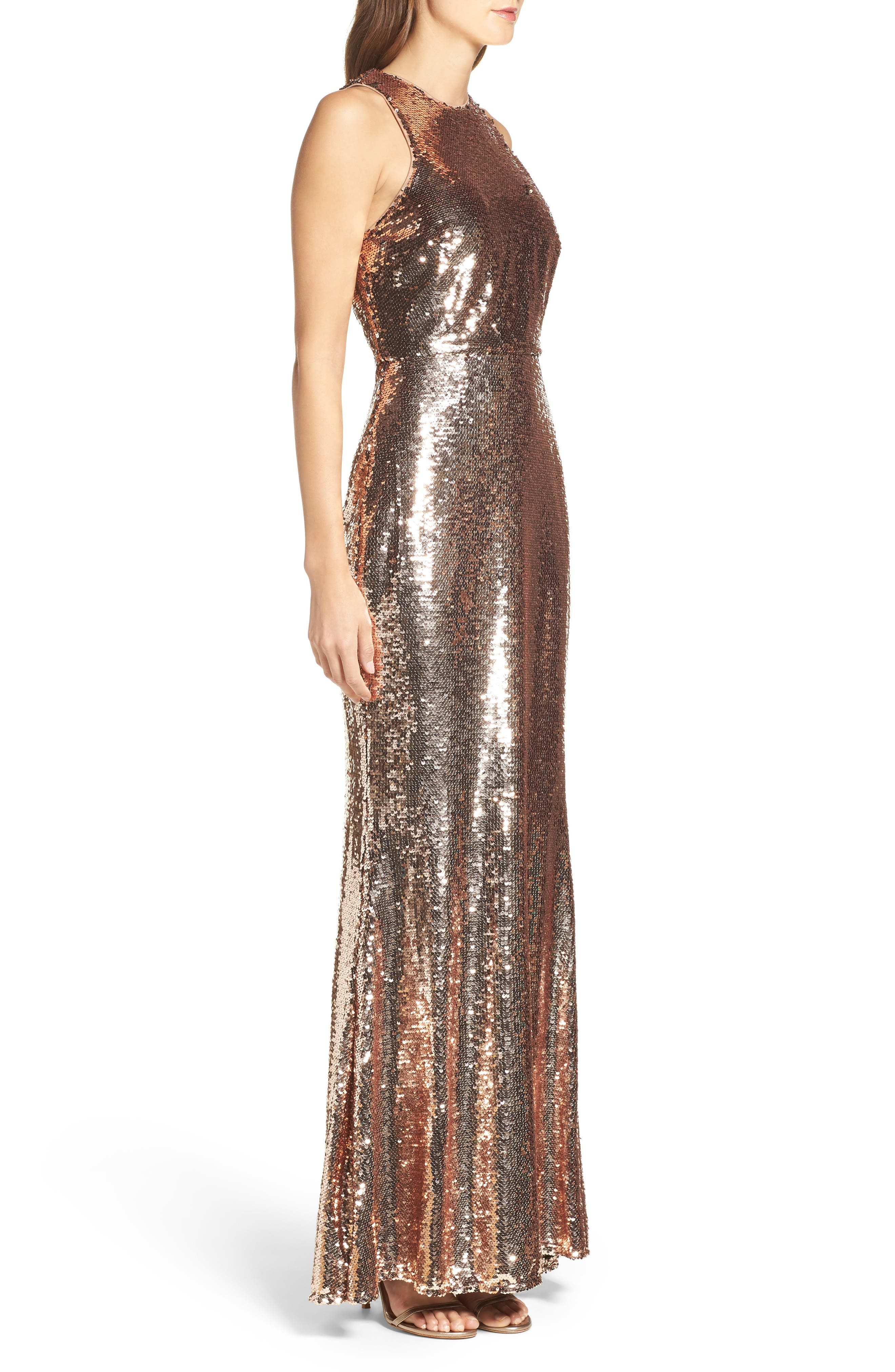 Sequin Mermaid Gown,                             Alternate thumbnail 3, color,                             Rose Gold