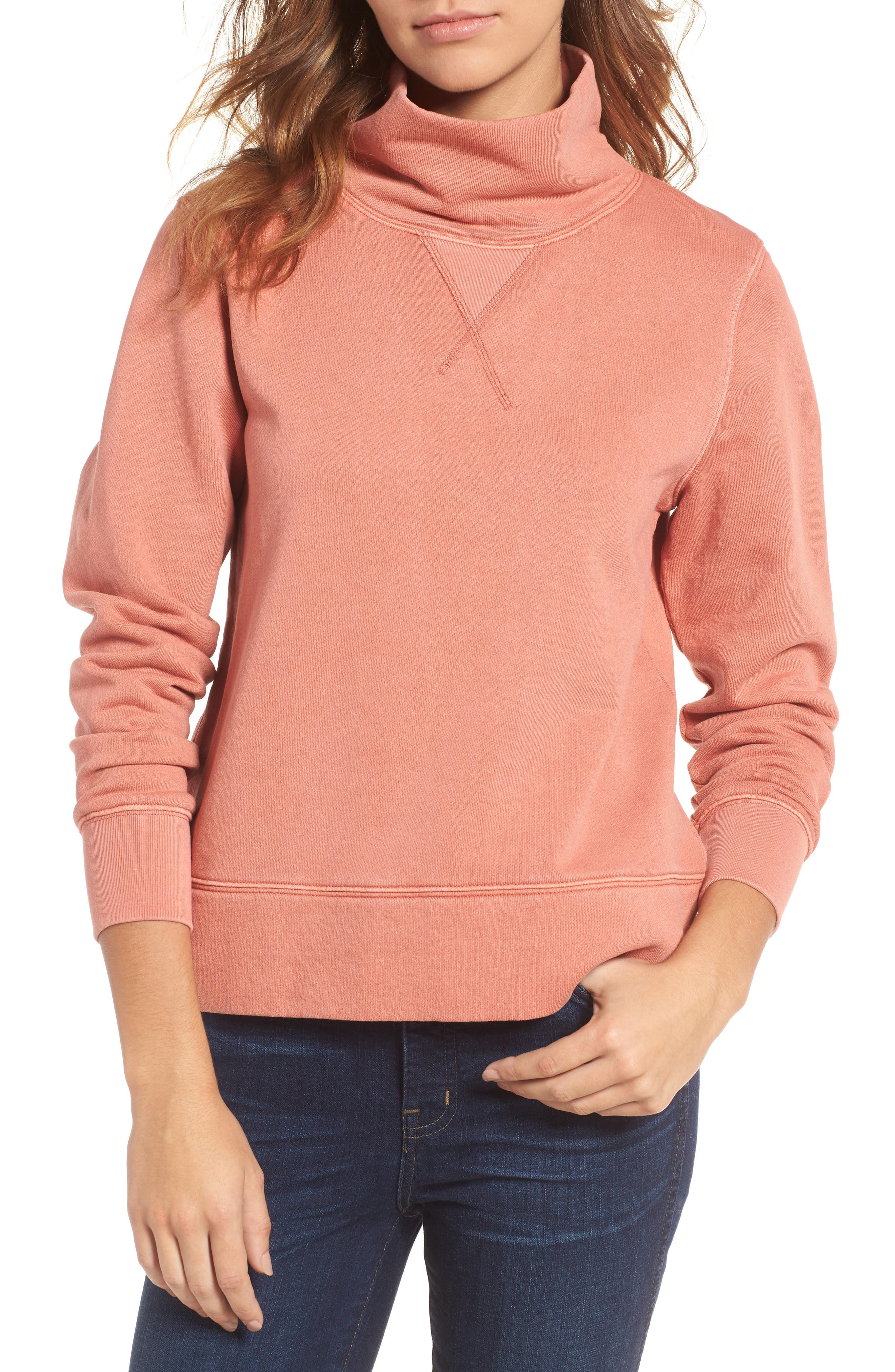 Garment Dyed Funnel Neck Sweatshirt,                             Main thumbnail 1, color,                             Rusted Tin