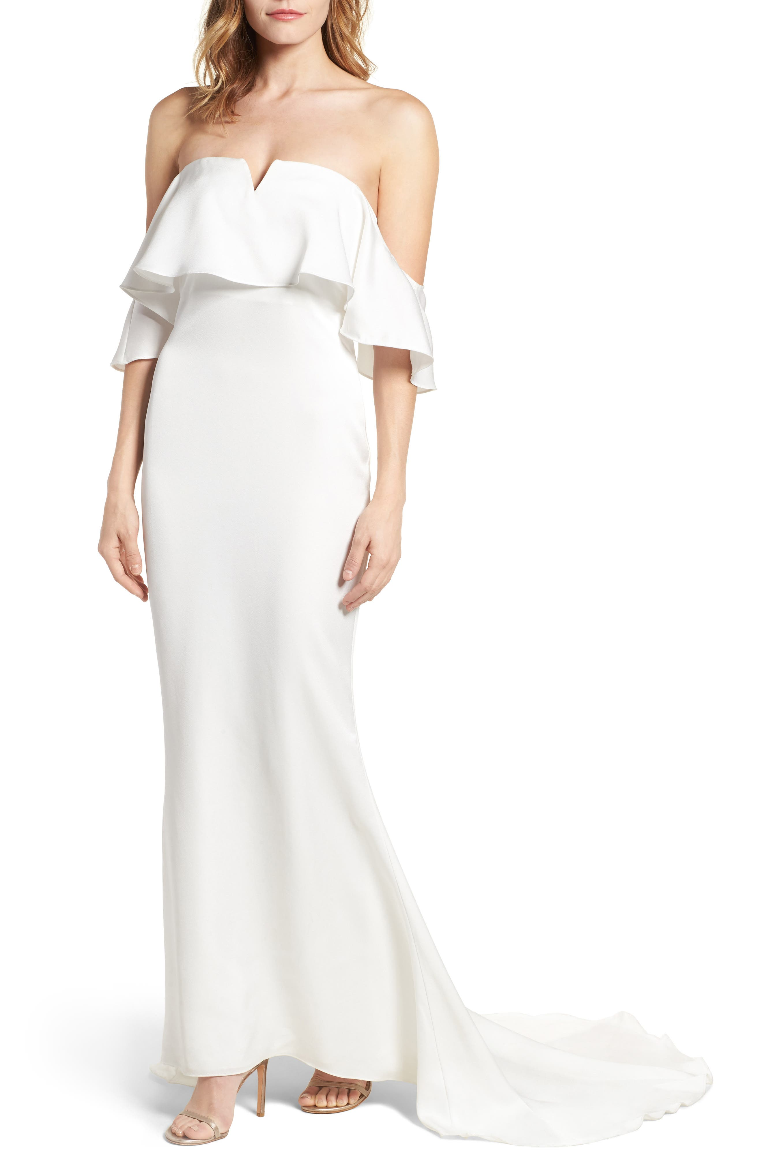 The Santa Barbara Off the Shoulder Gown,                             Main thumbnail 1, color,                             White